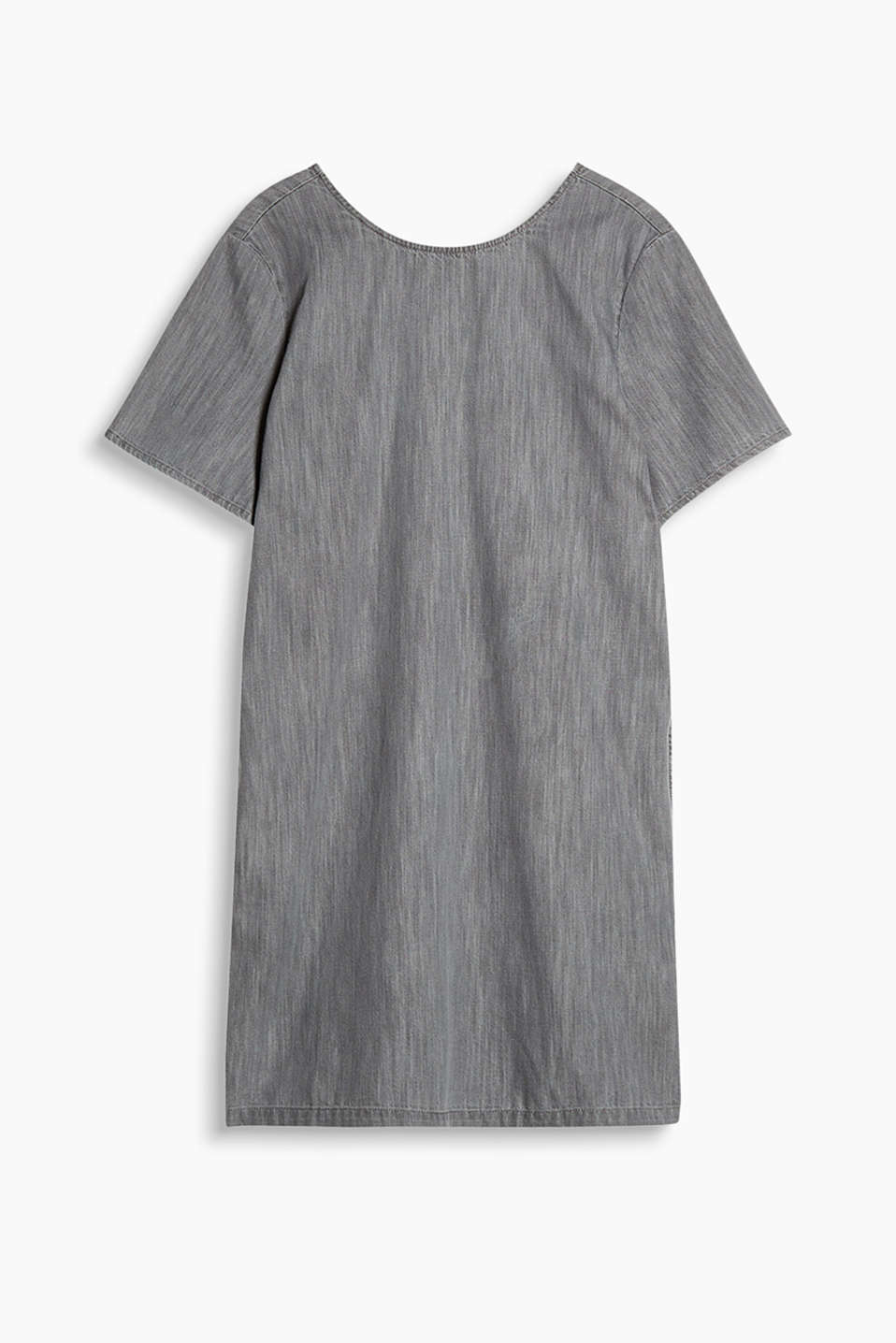 H-line dress in soft melange cotton denim with slit pockets