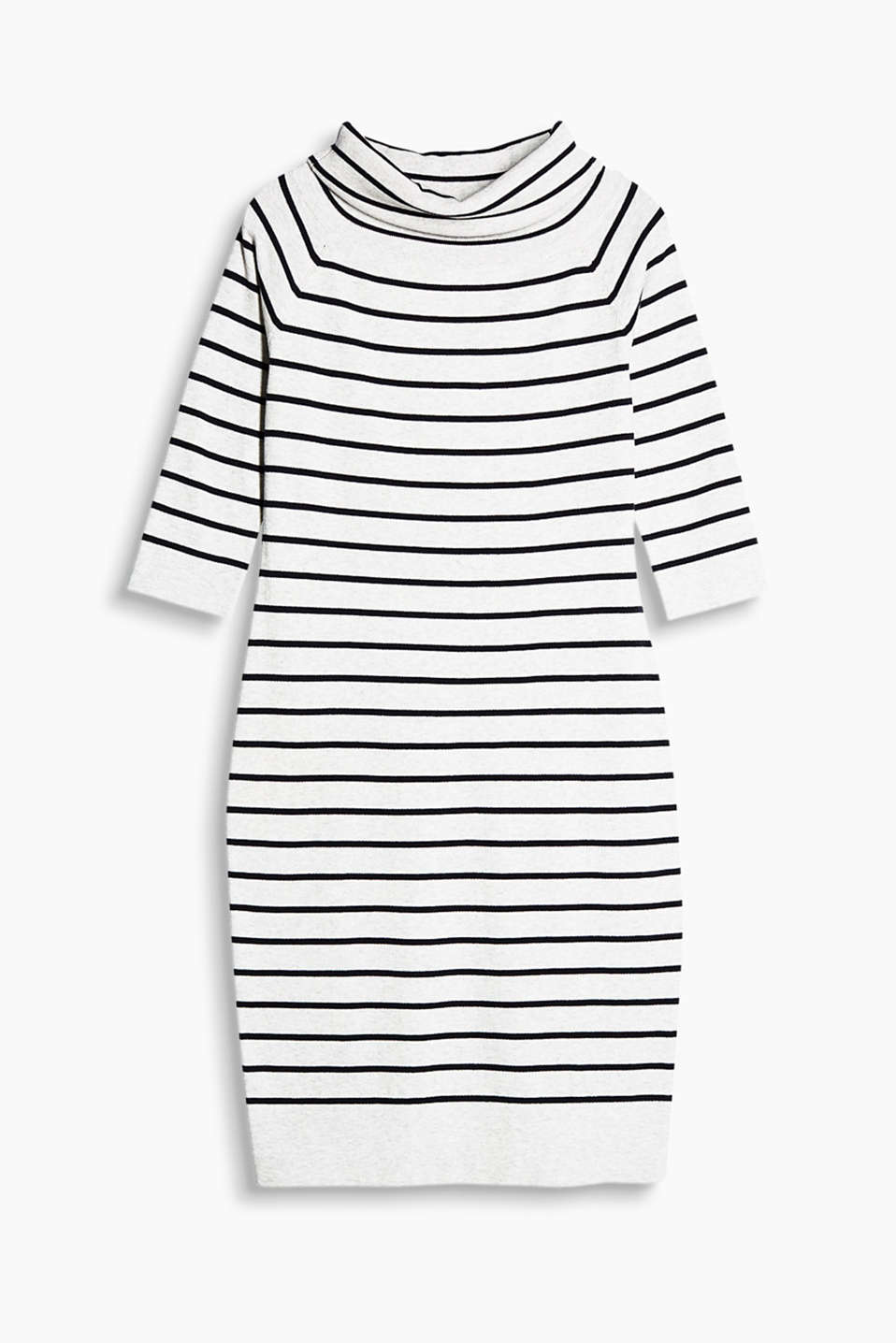 Made of fine rib knit: off-the-shoulder dress in a cool striped look