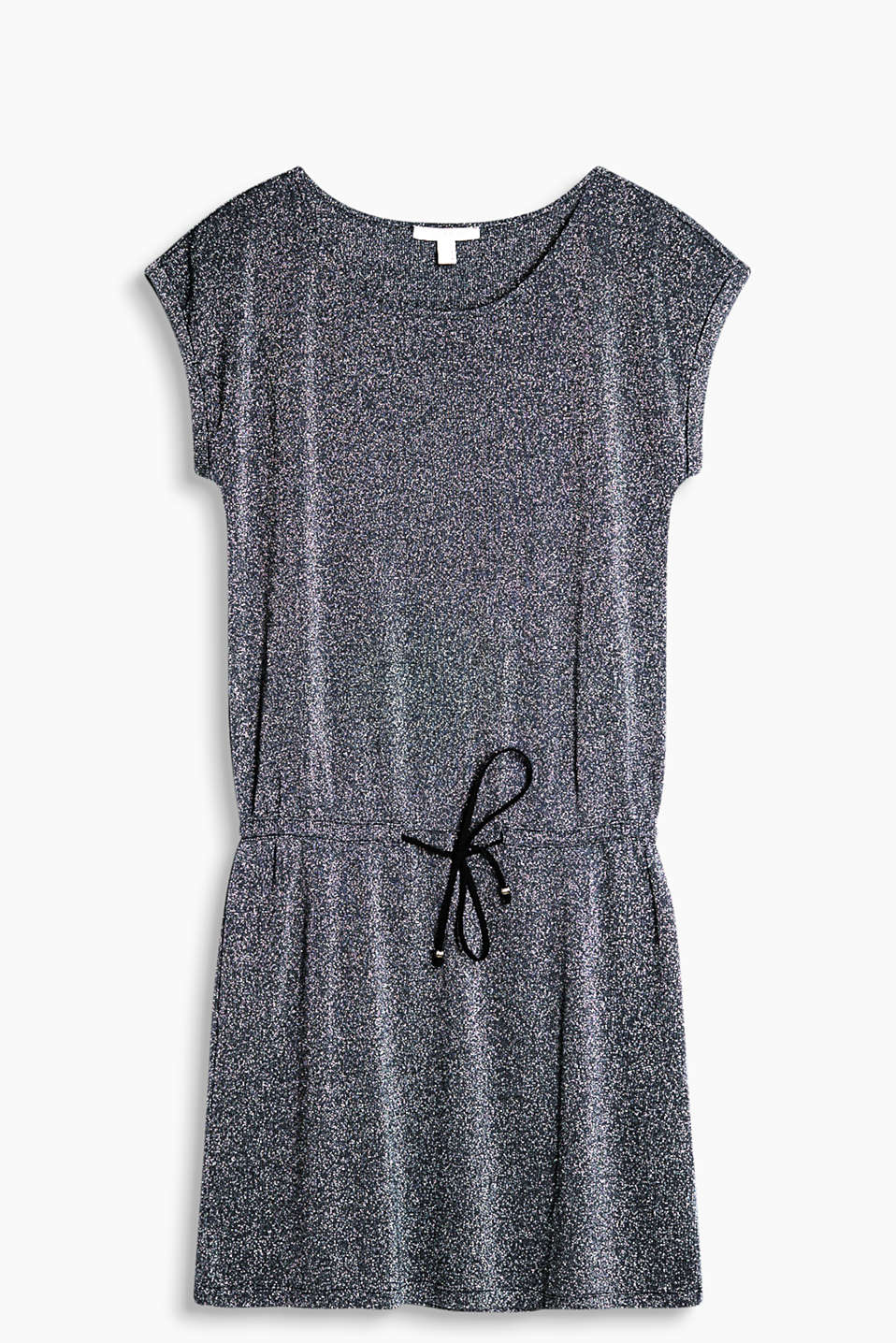 Soft lurex jersey dress with a fashionable T-shaped design and tie-around belt in faux suede