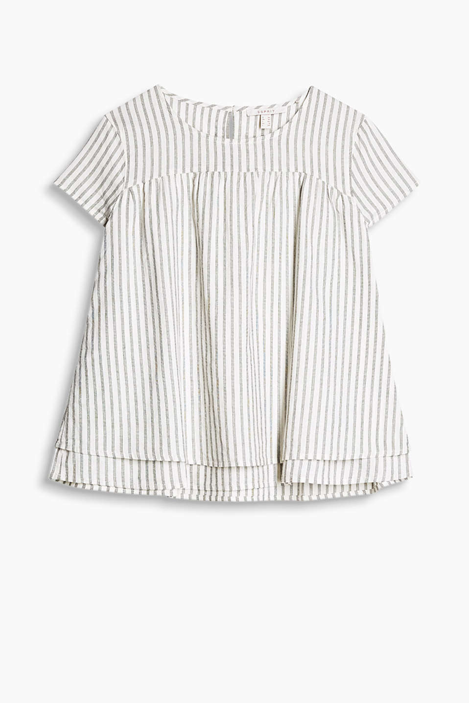 Blouse top in soft cotton fabric with stripes and a layered effect