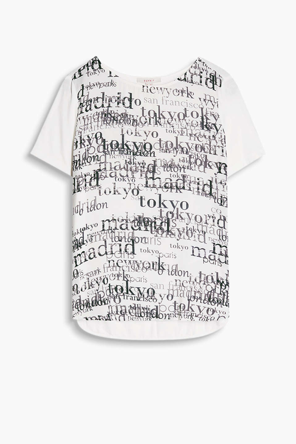 Semi-sheer blouse top in a softly draped viscose blend with large printed lettering
