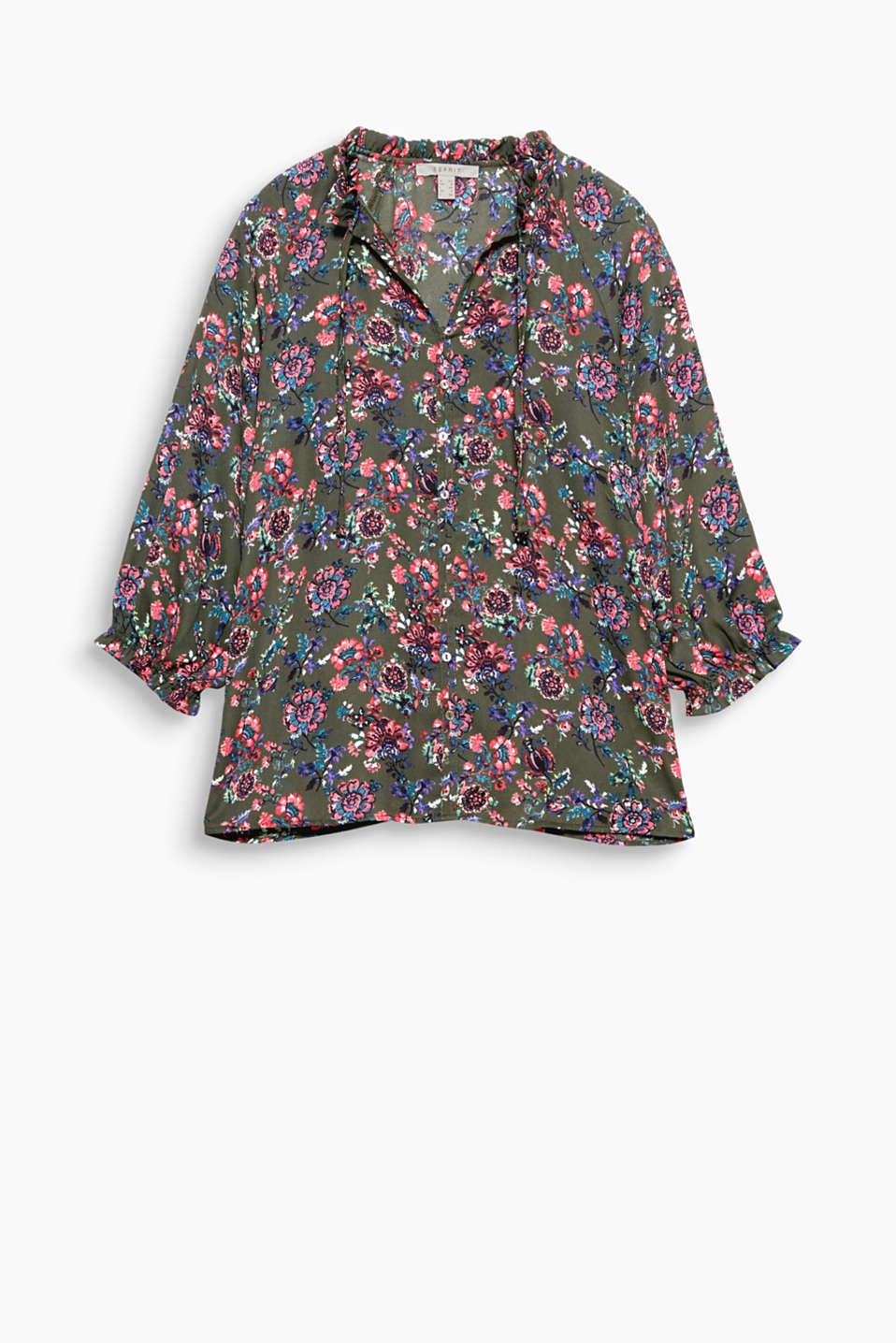 With a colourful floral print: Frilled blouse in slightly sheer, flowing material