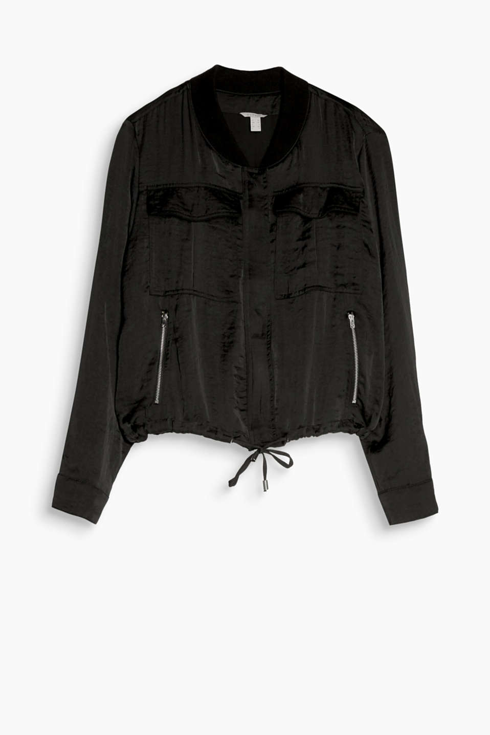 Trendy indoor style: silky bomber jacket in a cropped cut with a breast pocket and drawstring hem