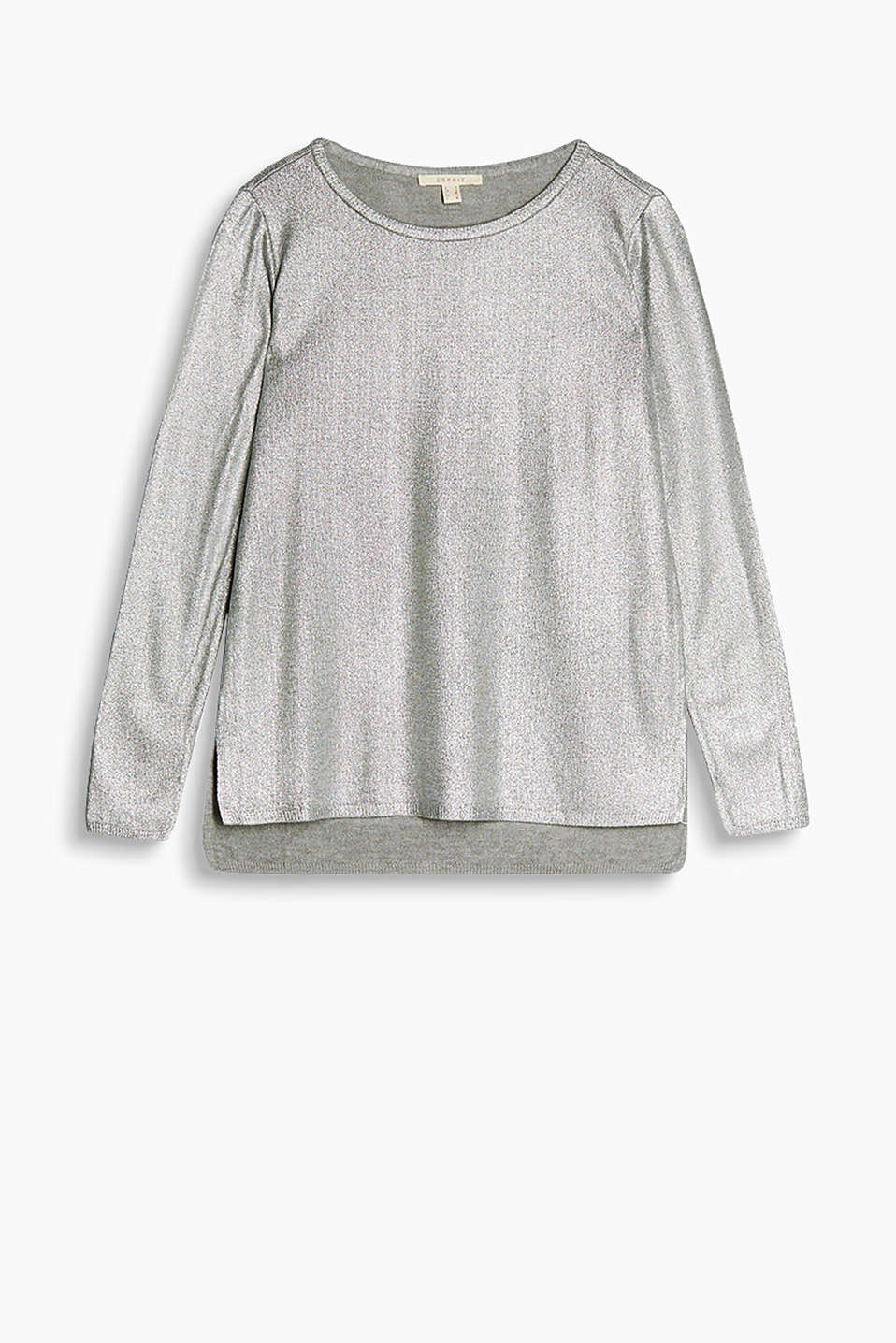 Coated jumper with a fine sheen and a high-low hem