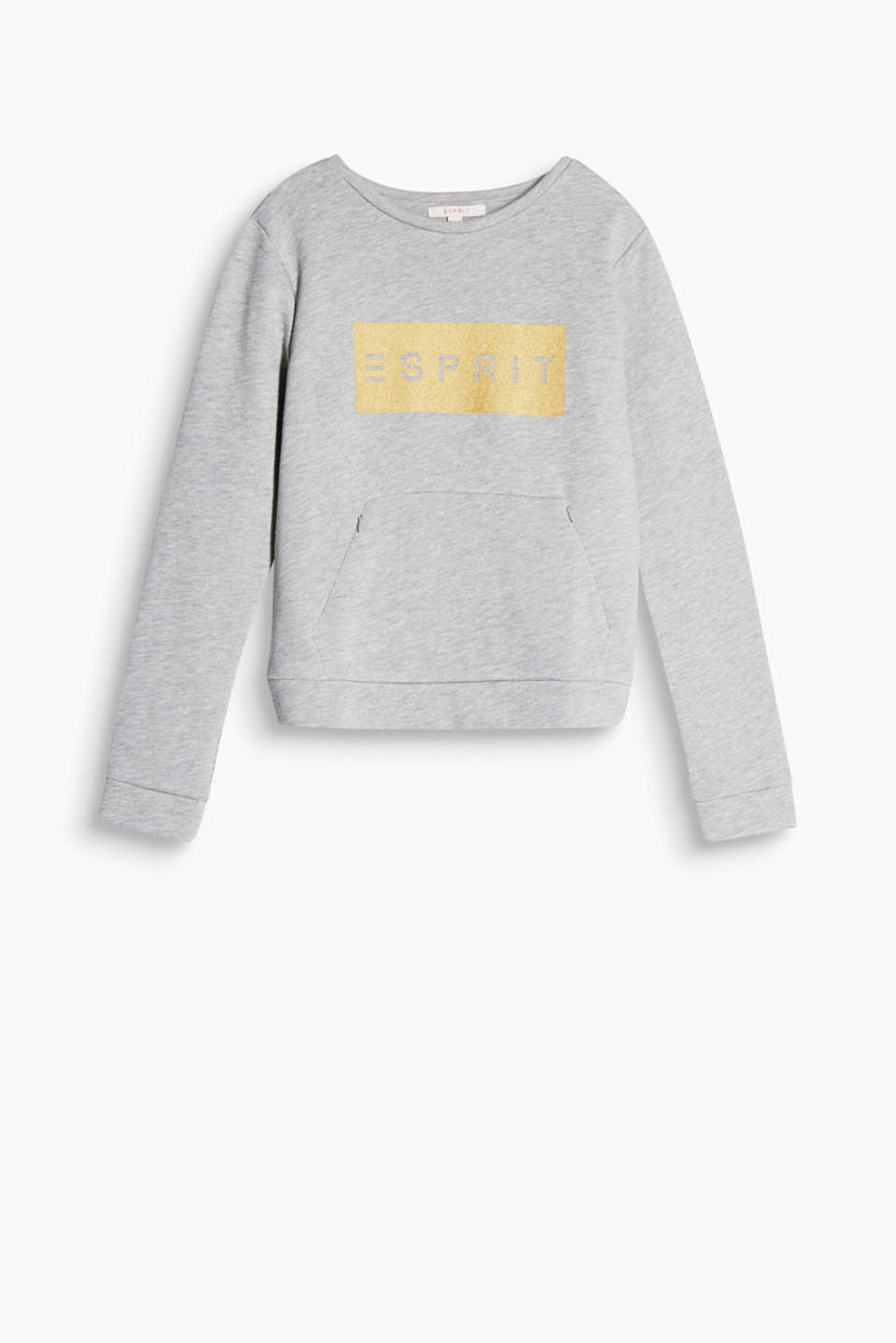 Made of soft blended cotton: sweatshirt with a kangaroo zip pocket and logo print