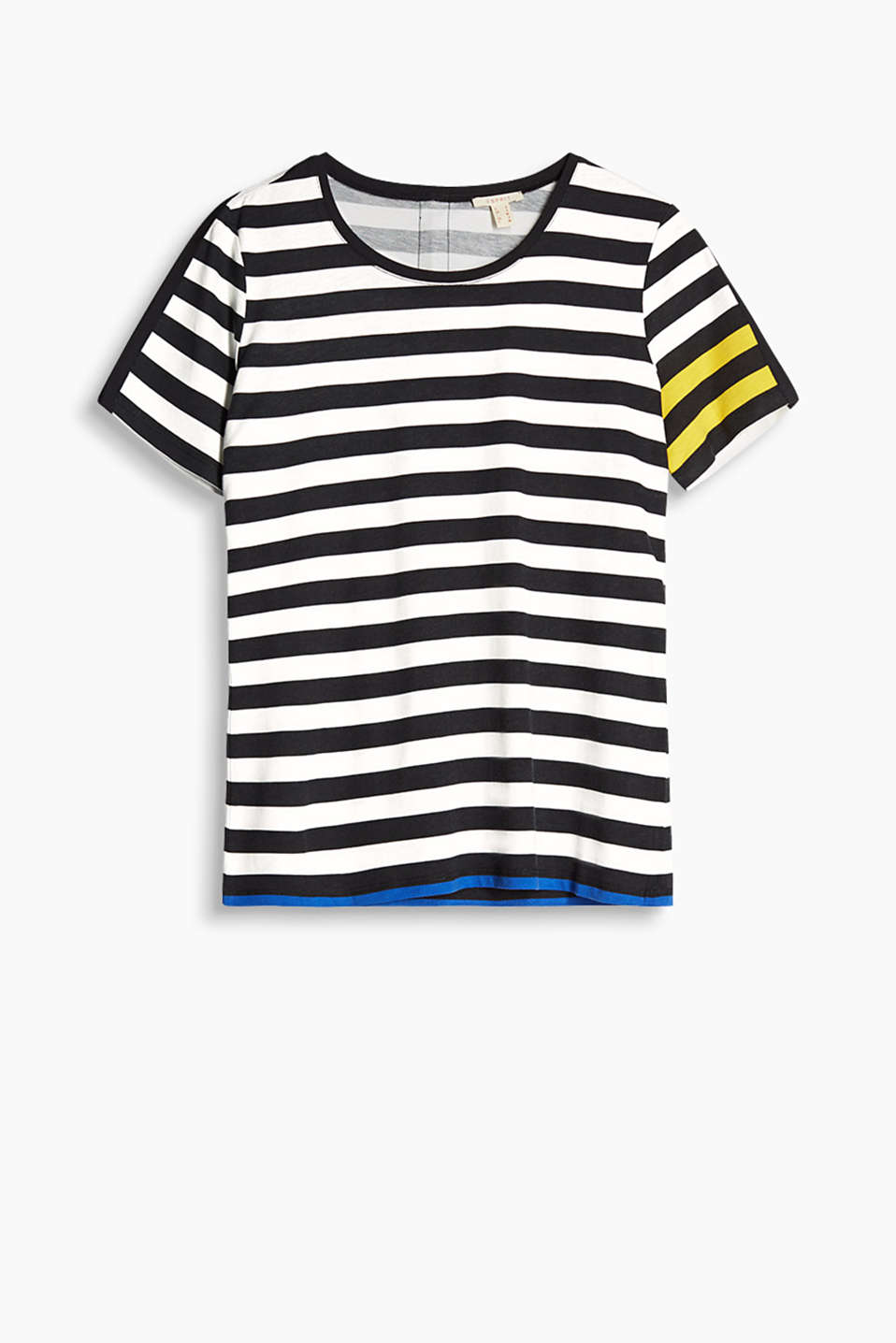 Soft striped top with contrasting details and a zip on the back, cotton blend