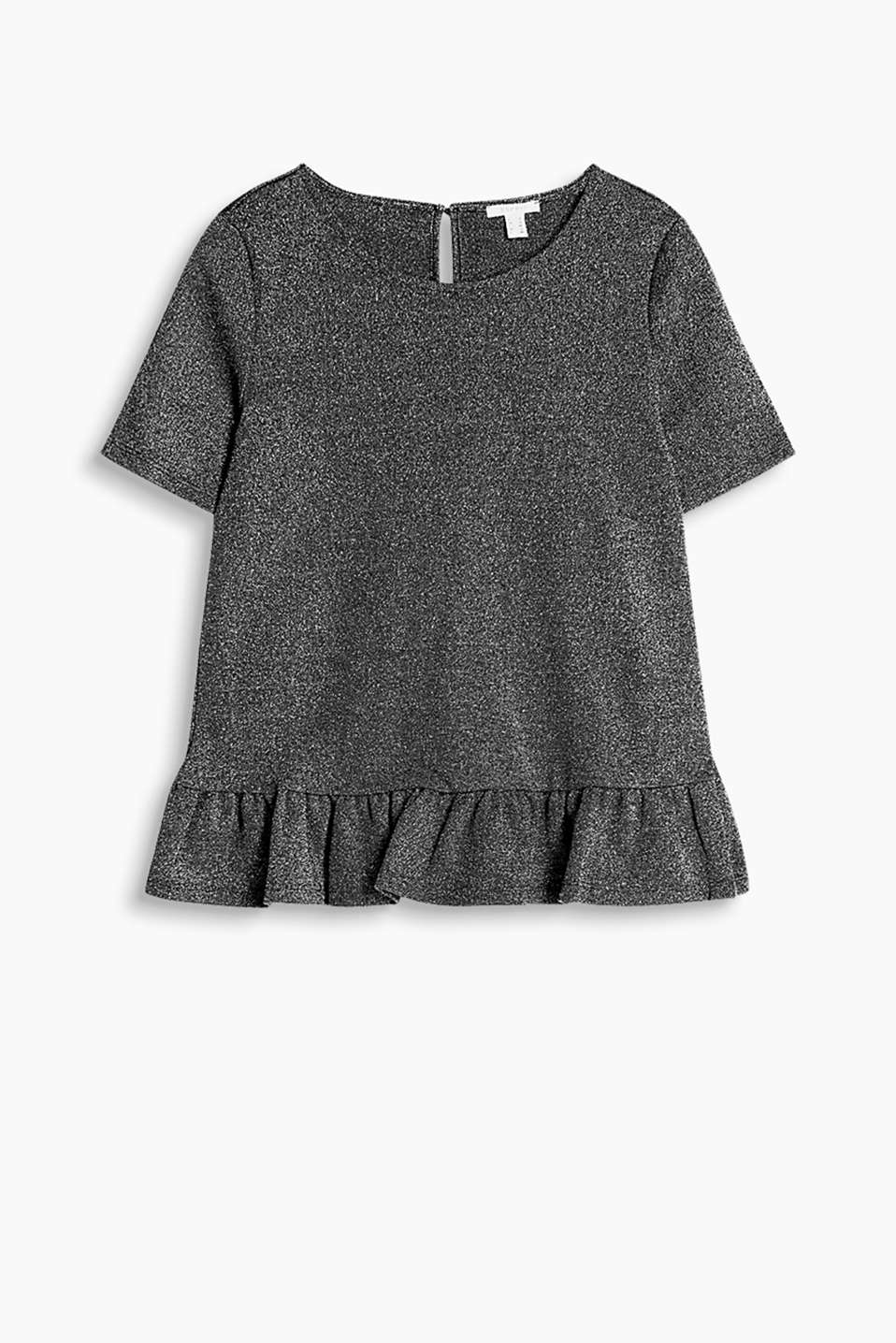 T-shirt in high-quality blended cotton with a peplum, a round neckline and a button-fastening back slit