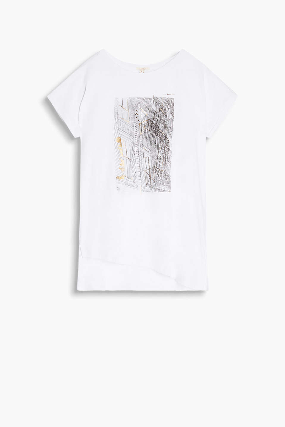Made of 100% cotton: T-shirt with a charming architecture print with gold
