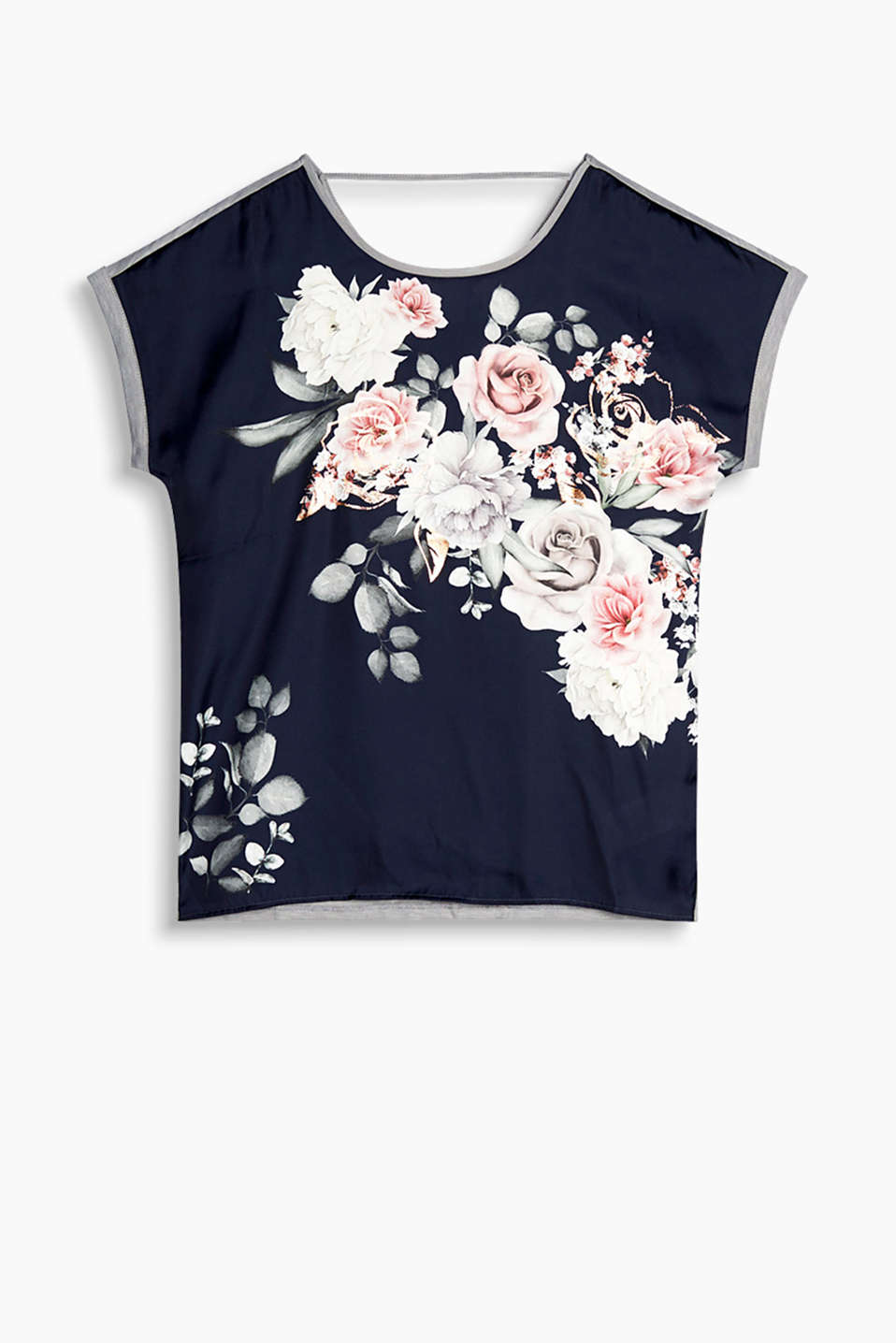 Blouse top with a shiny front print and back neckline