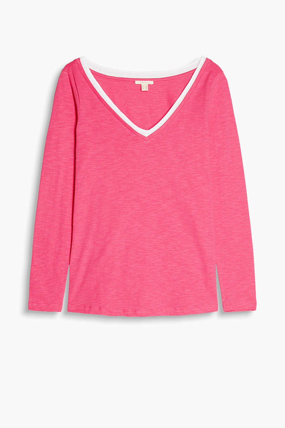 Airy slub long sleeve top with a layered effect on the generous V-neckline, 100% cotton