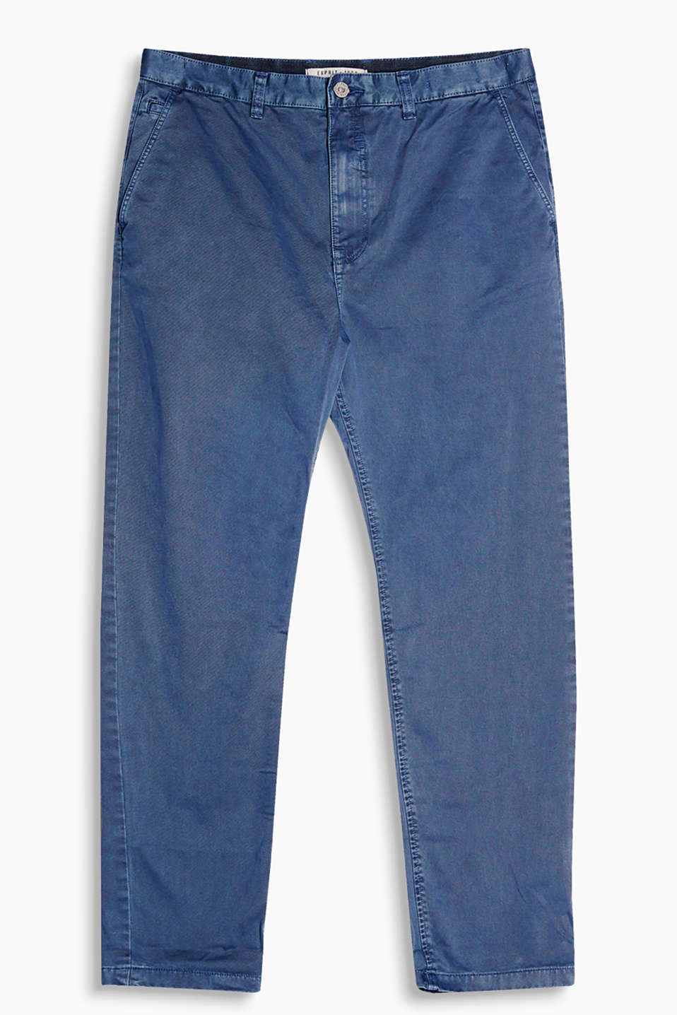 Trousers with striking vintage garment-washed effects, made of smooth cotton twill