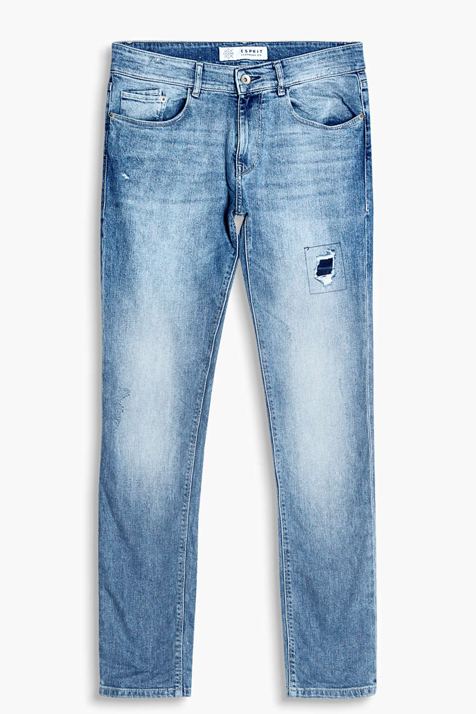 With an exciting vintage garment wash and distressed effects: slim-fitting jeans in stretch cotton