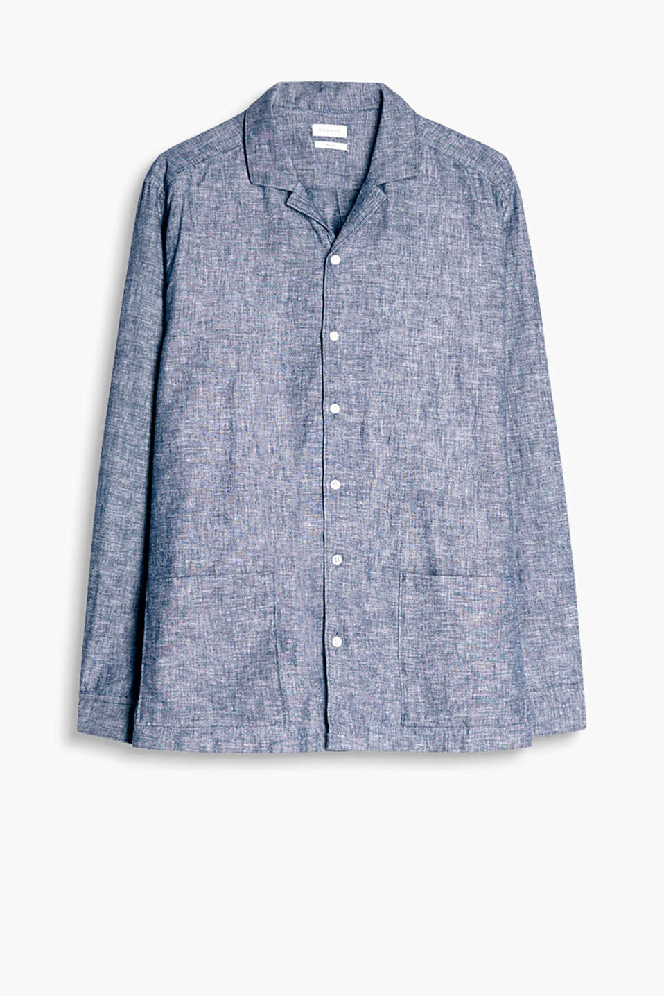Cuban collar shirt in a soft, melange cotton-linen blend
