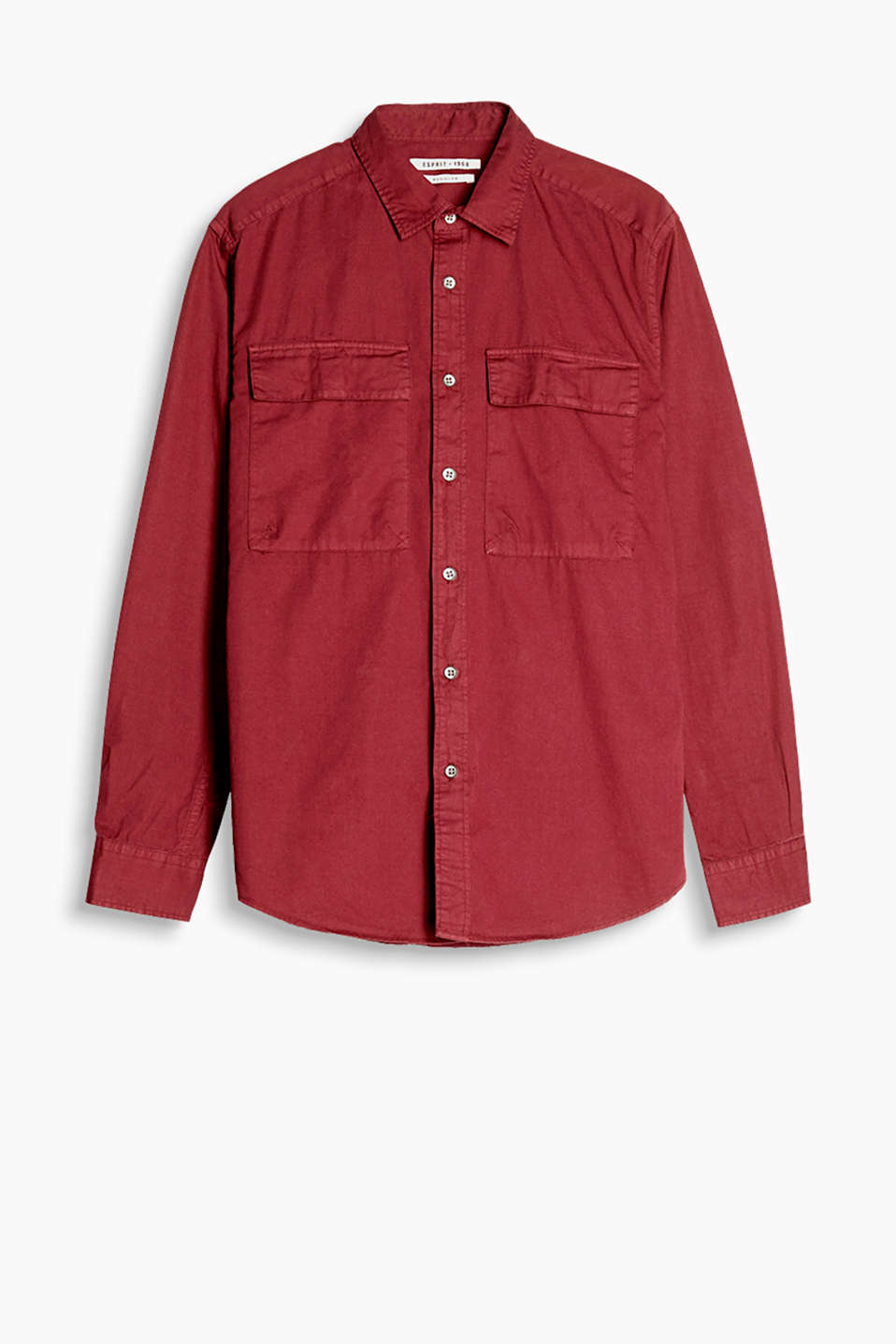 Shirt in a trendy utility style with patch flap pockets at chest height, in dense cotton fabric