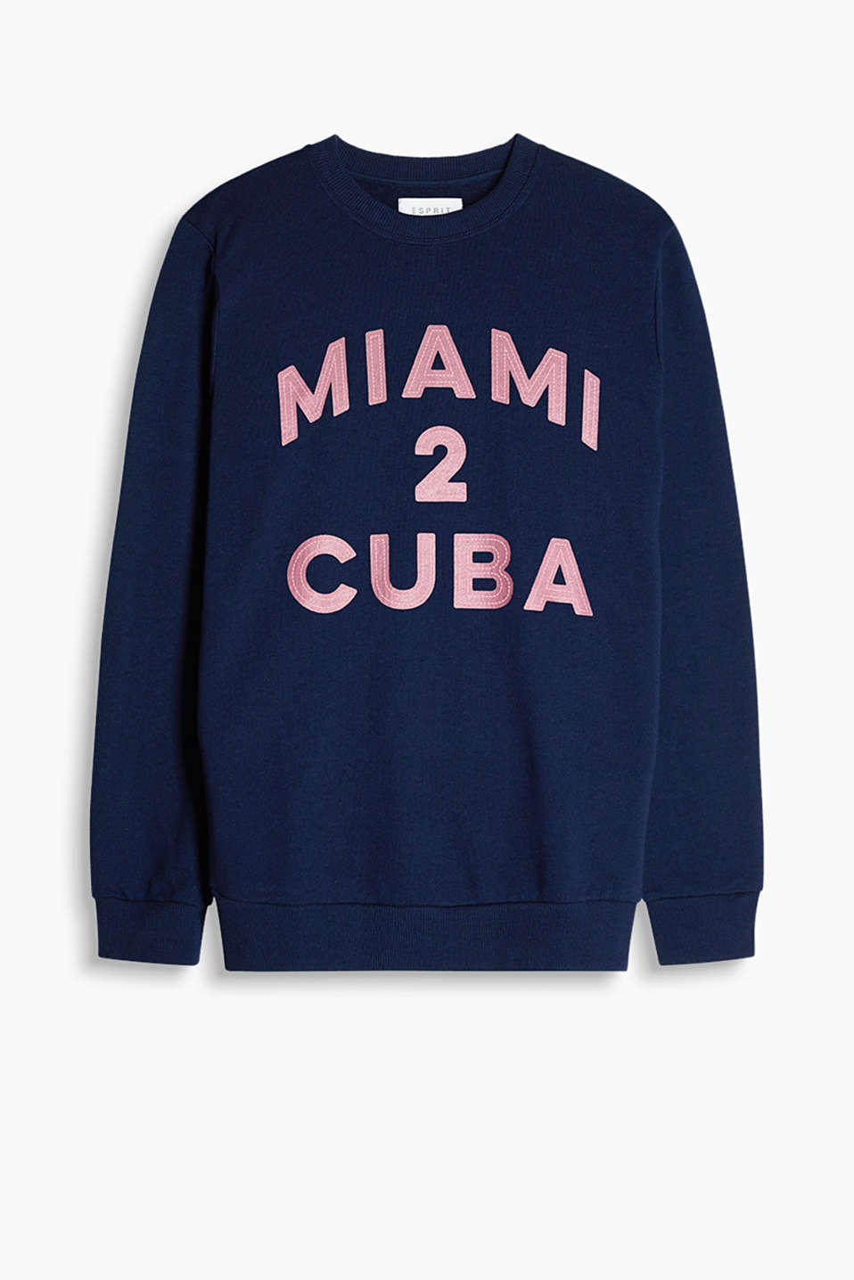 Sweatshirt with ribbed cuffs made of soft blended cotton with printed lettering