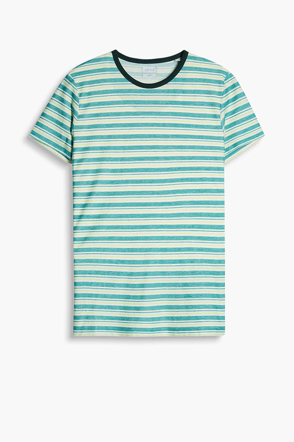 Textured T-shirt with a brightly coloured stripe pattern and contrasting colour piping along the round neckline
