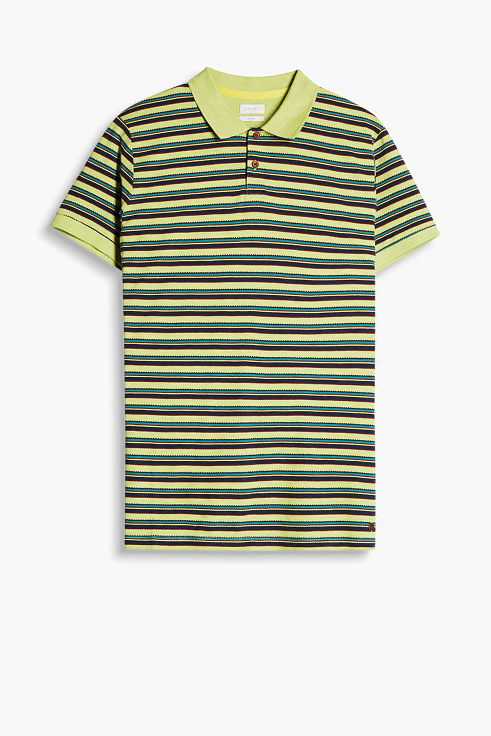Vibrantly patterned polo shirt made of fine piqué fabric, 100% cotton