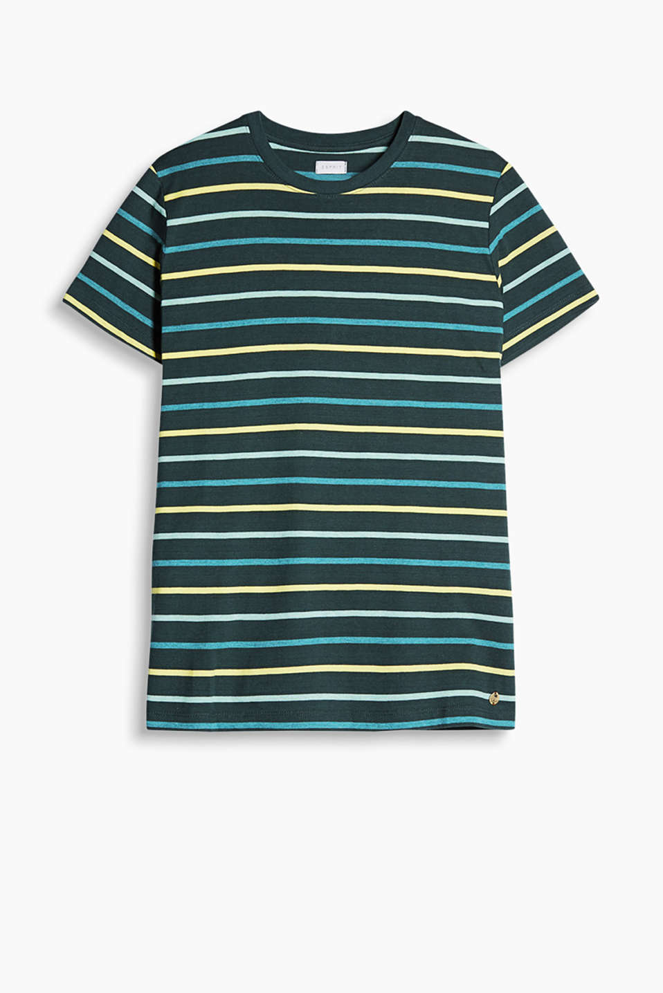 Colourfully striped T-shirt with a ribbed round neck trim made of soft blended cotton