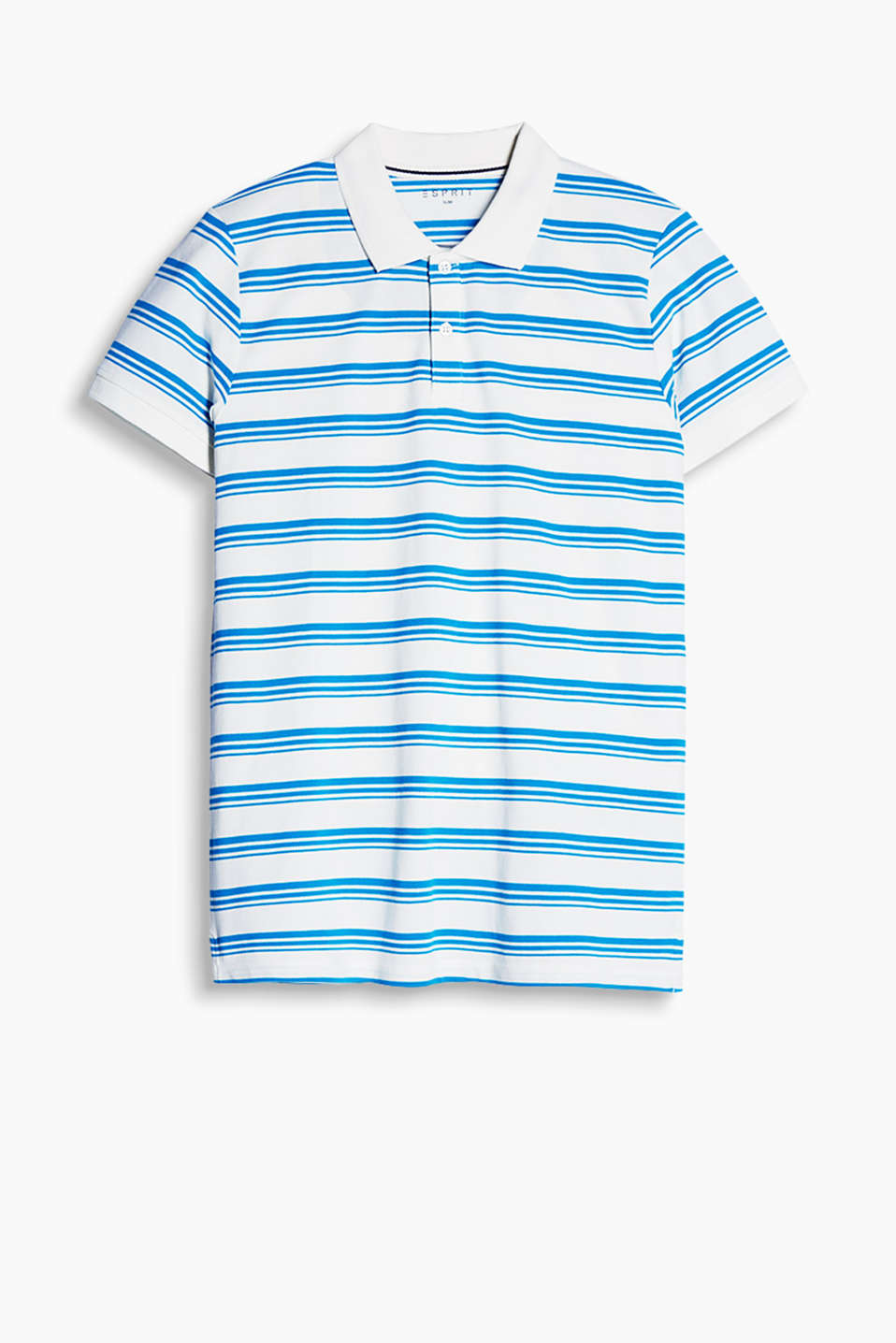 Polo shirt made of premium piqué fabric with a stunning stripe pattern, 100% cotton