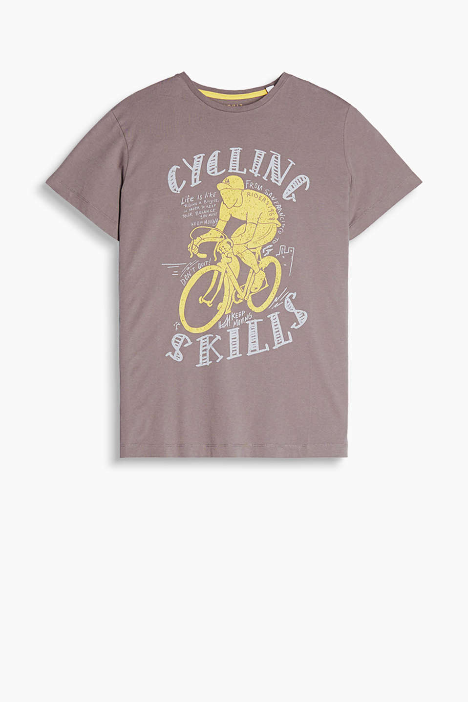 Crew neck T-shirt in soft cotton jersey with a sporty print