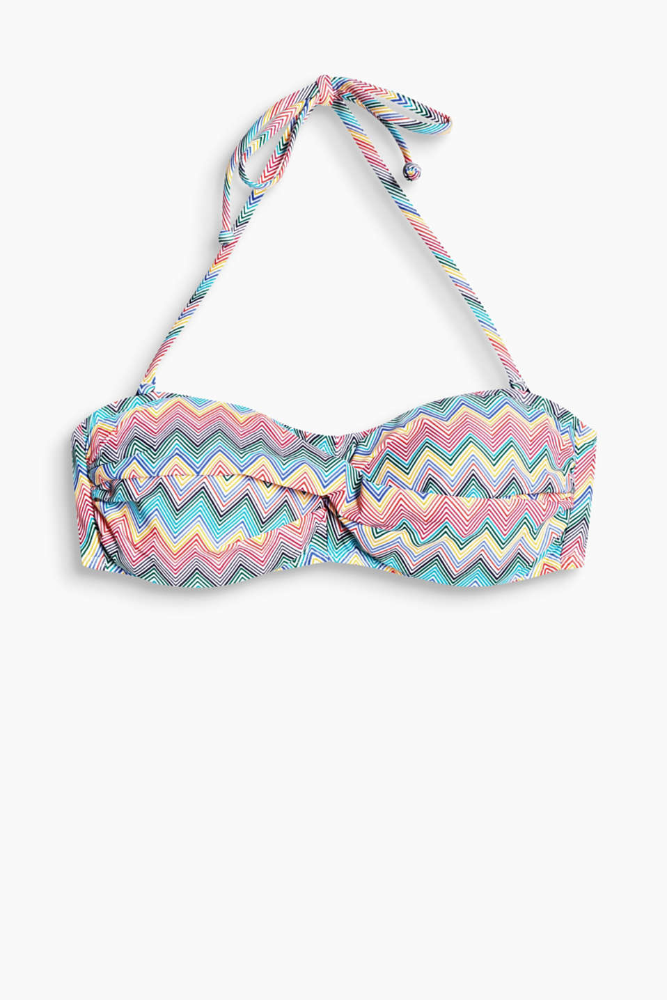 Collection: CLURES – padded bandeau bikini top with a draped detail and detachable halterneck ties