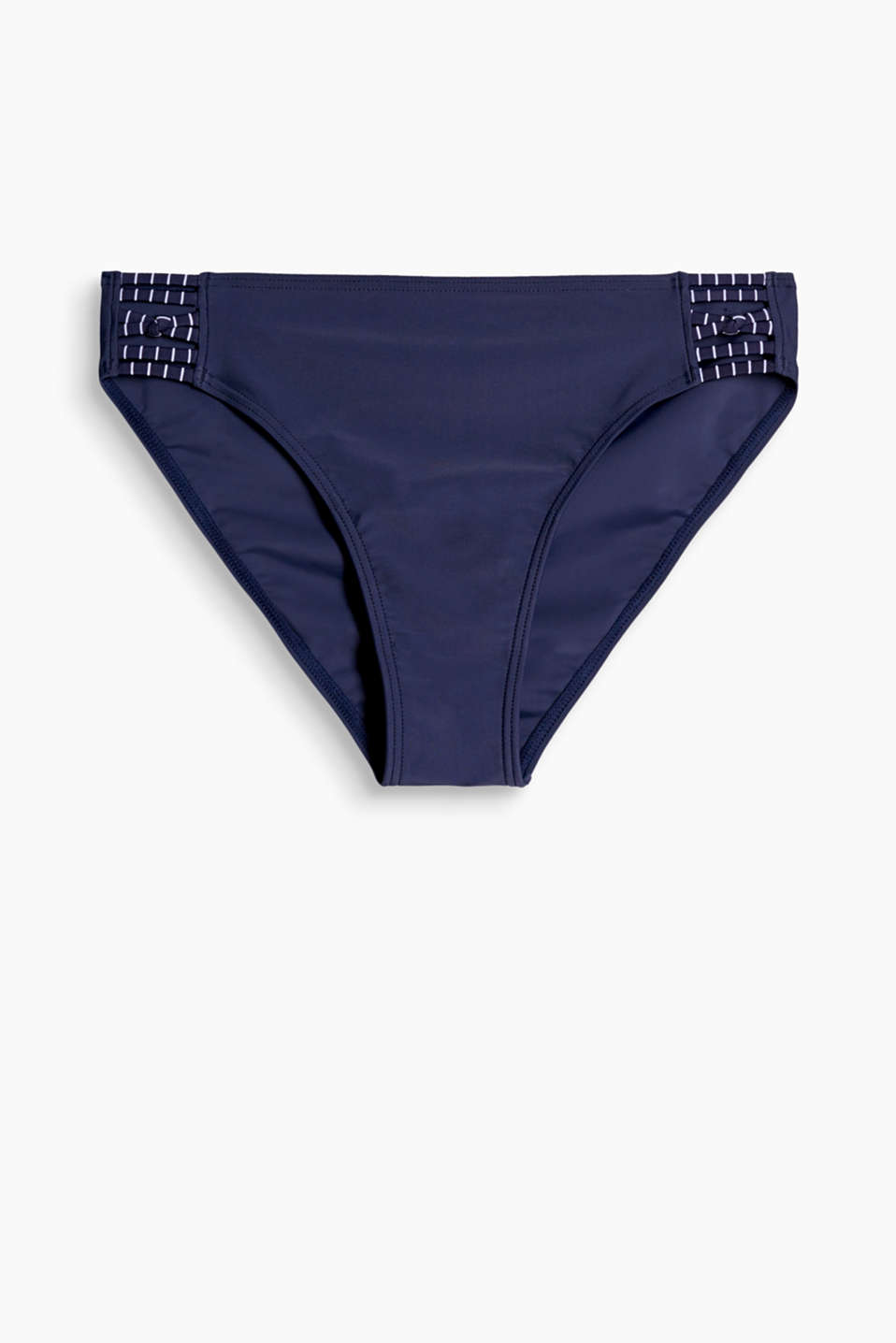 BRIGHTON collection - comfortable midi bikini bottoms with striped elastic ties at the sides