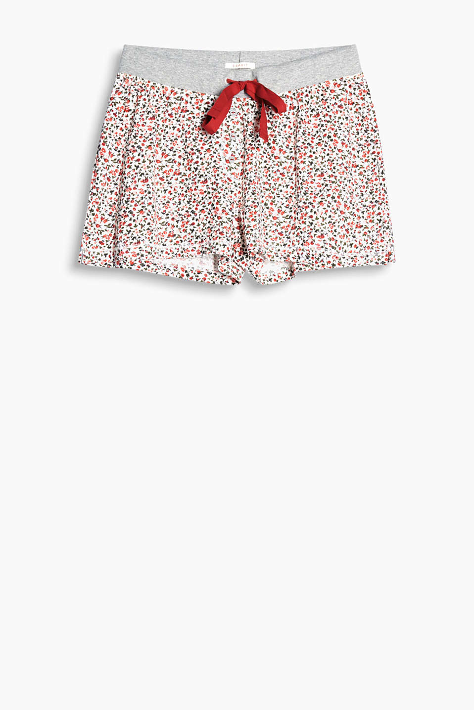 Pyjama shorts with a pretty floral print, wide, elasticated waistband and drawstring ties