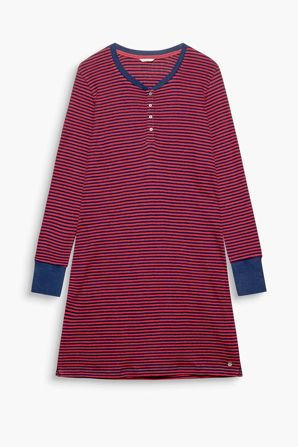 Airy, striped jersey nightshirt with an open-work pattern, 100% cotton