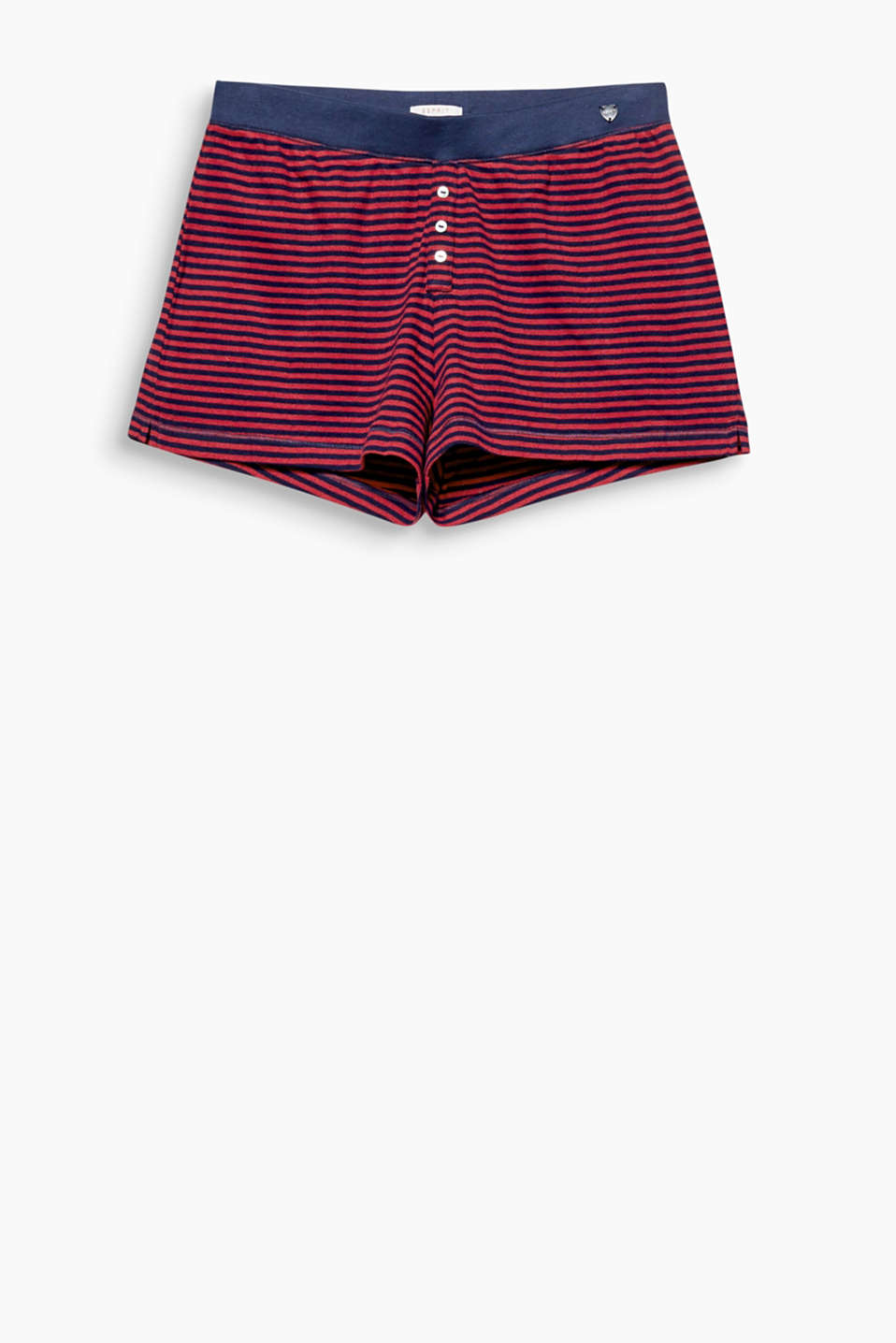 Soft, striped jersey shorts with an open-work pattern, 100% cotton