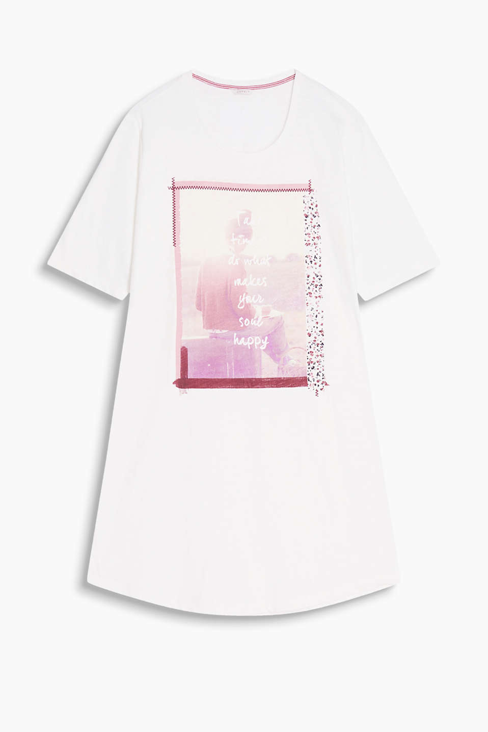 Fitted nightshirt made of soft slub jersey with a photo print and round neckline