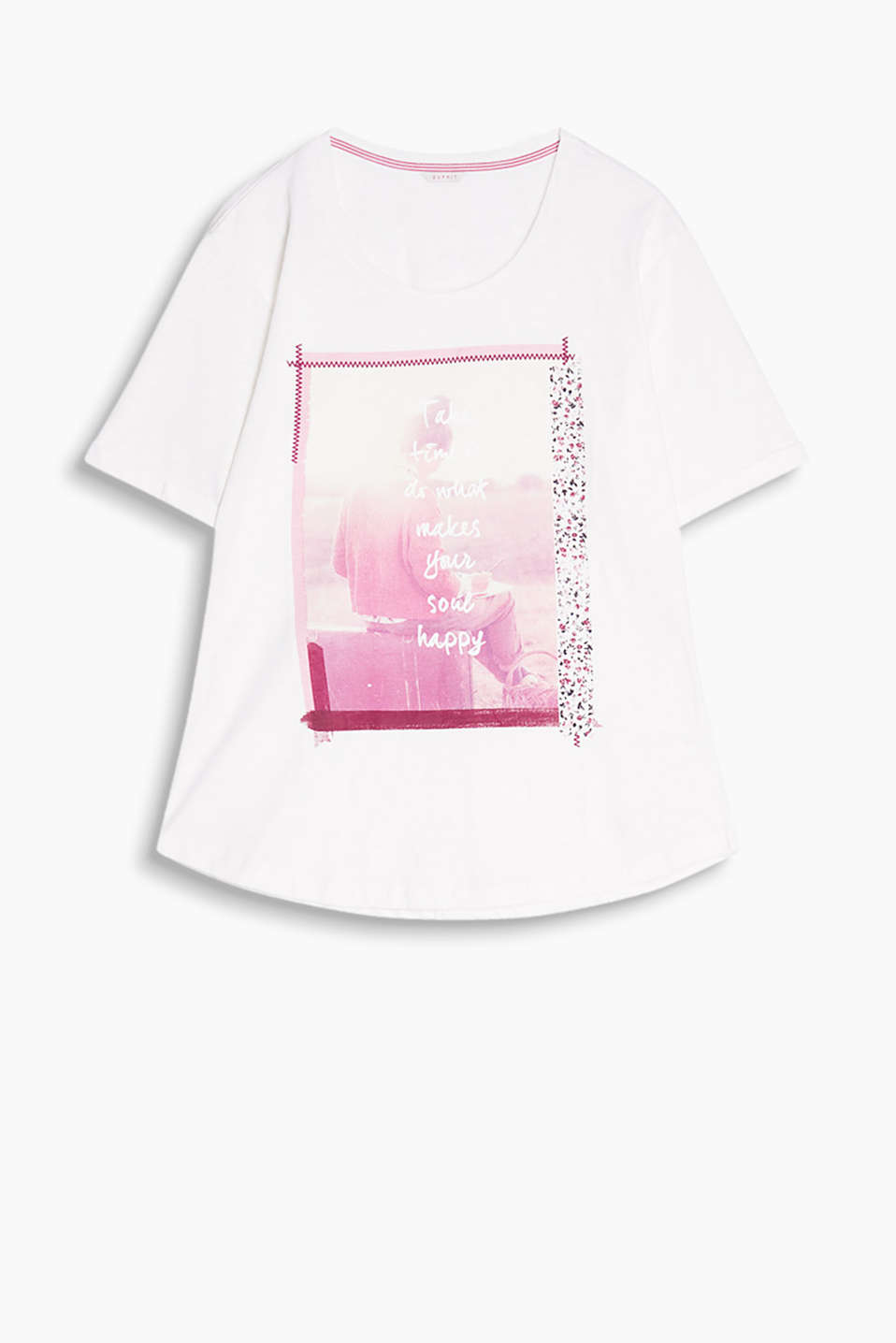 Fitted T-shirt made of soft slub jersey with a photo print and round neckline