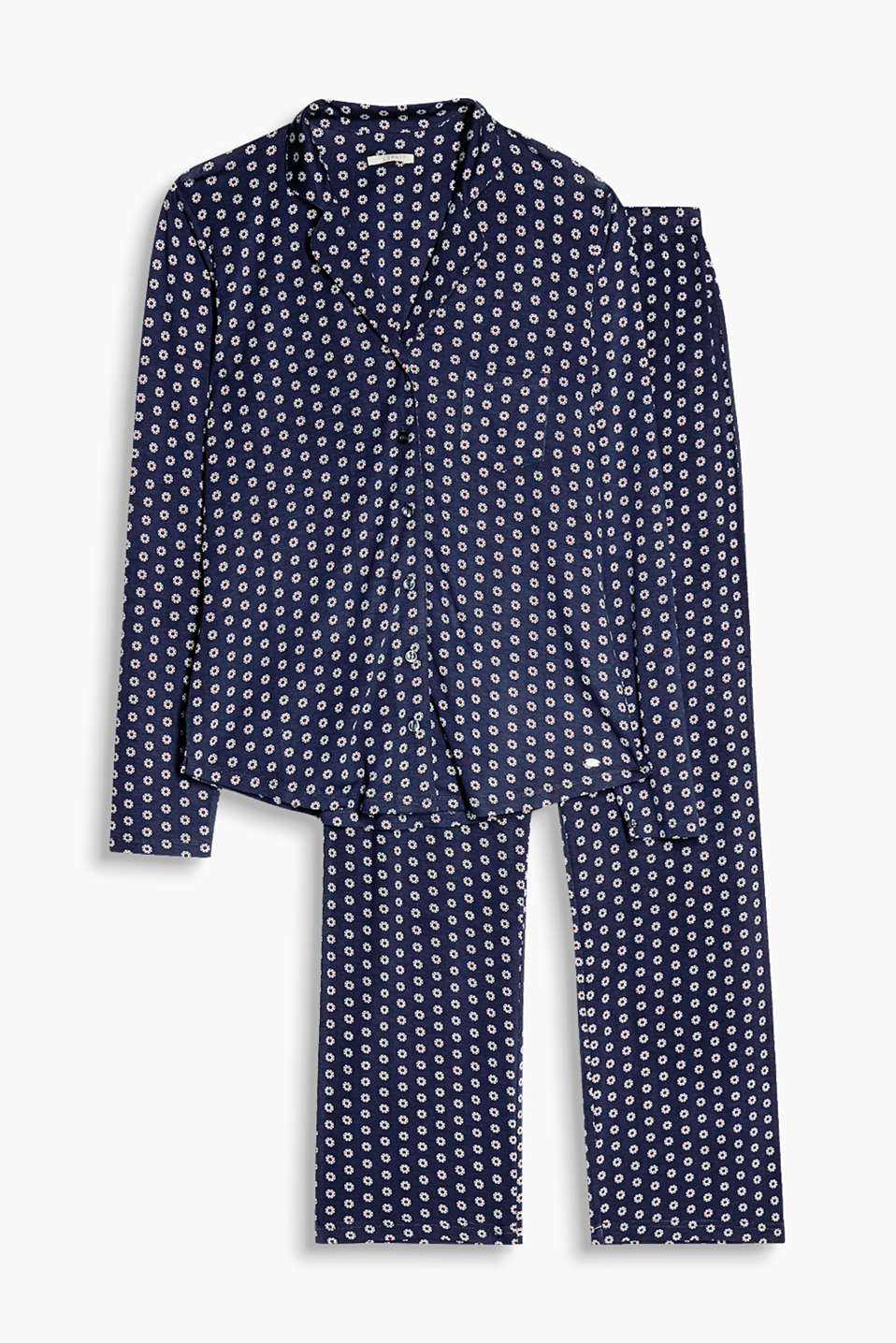 Boyfriend-style pyjamas made of softly draped stretch jersey with a fashionable, minimal print