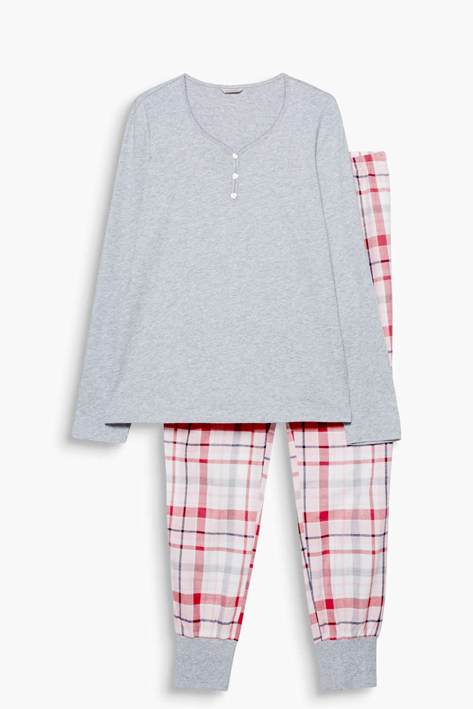 Fine flannel for sweet dreams: Pyjamas with a melange long sleeve top and checked trousers with cuffs