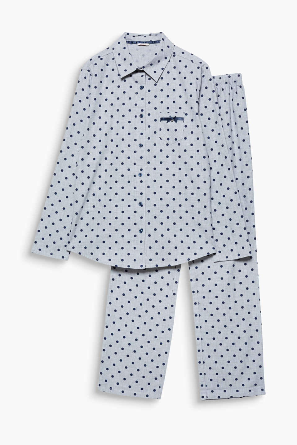 Retro polka dots are equally beguiling by night: pyjamas with a breast pocket and satin detailing