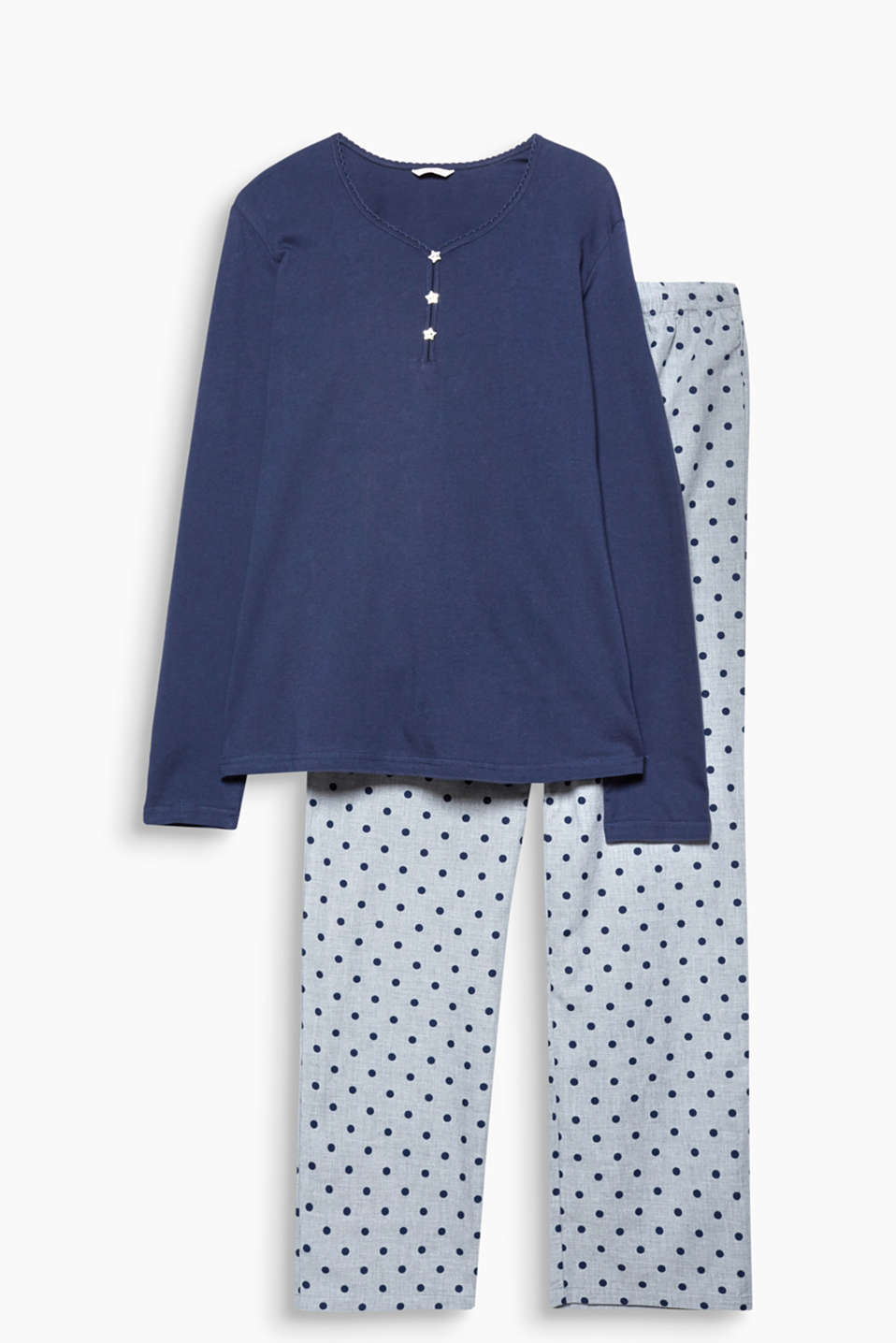 Retro polka dots are equally beguiling by night: pyjamas consisting of a plain long sleeve top and patterned bottoms
