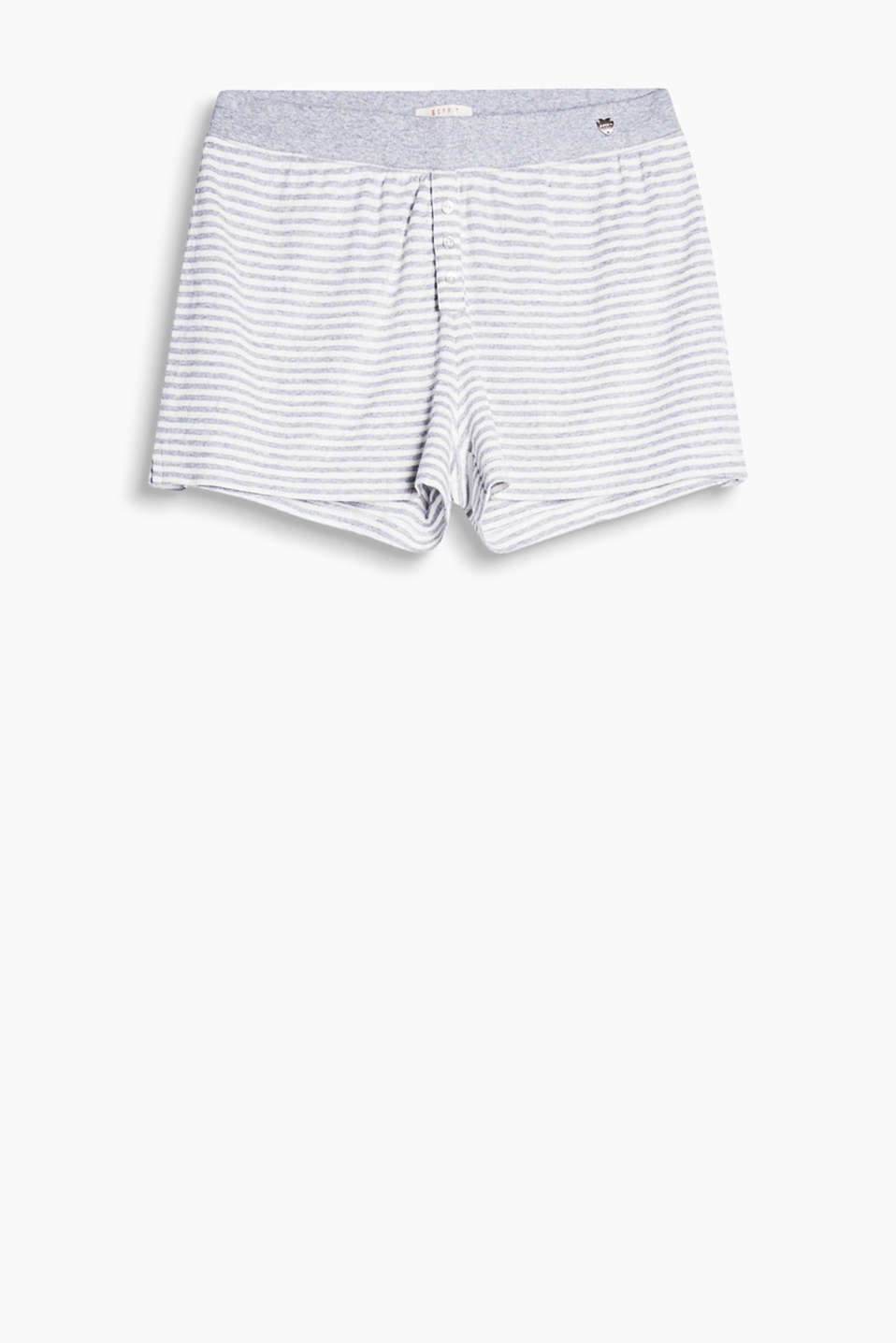 Pyjama shorts with an openwork pattern, a simple stripe print and a wide elasticated waistband, 100% cotton