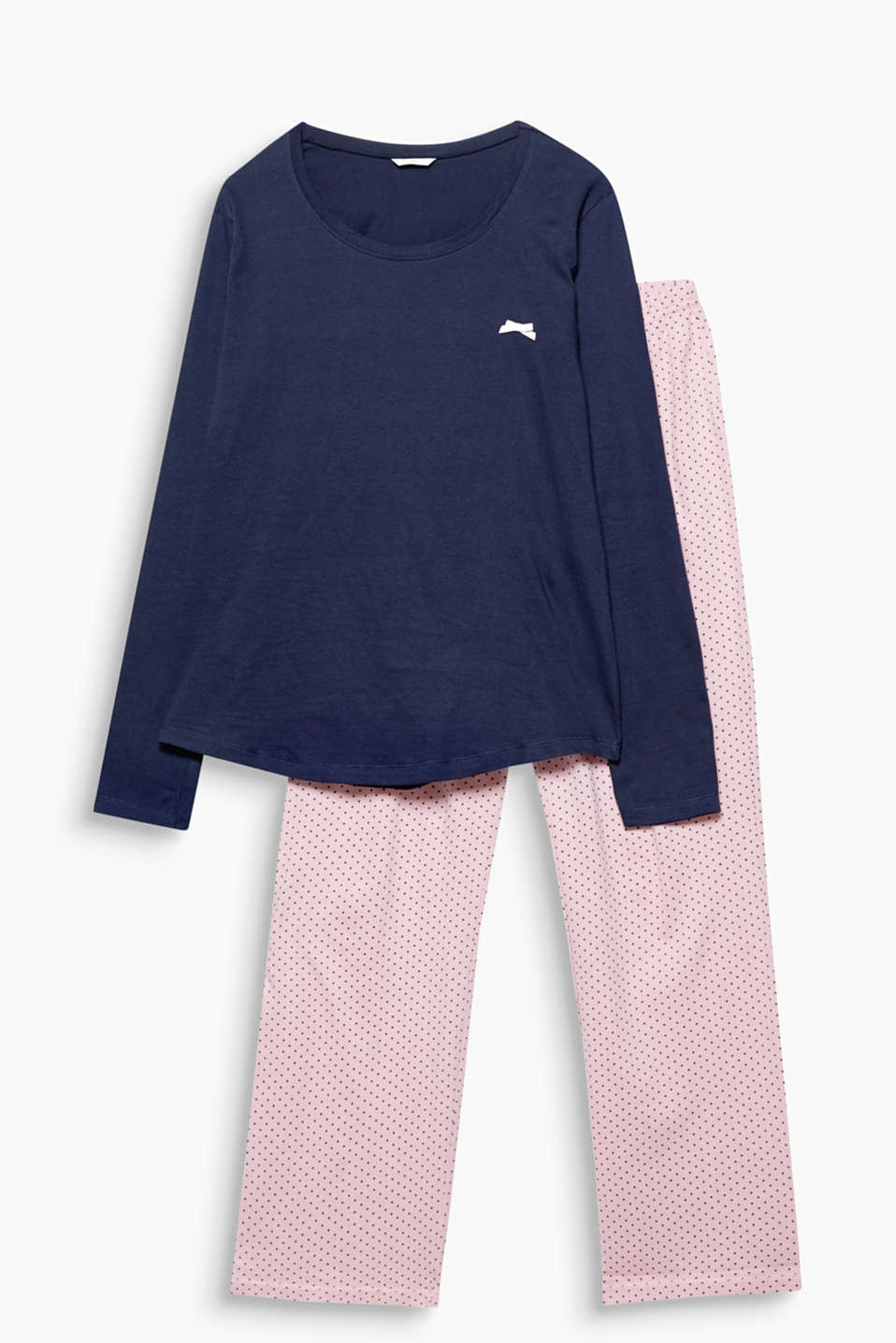 These basic jersey pyjamas featuring cool, polka dot bottoms feel soft and snug against the skin!