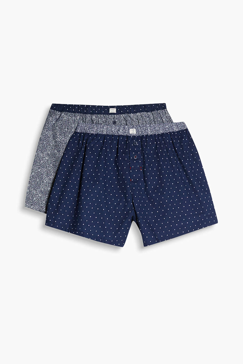 In a practical double pack: these cotton shorts with different mini print are all about pattern!
