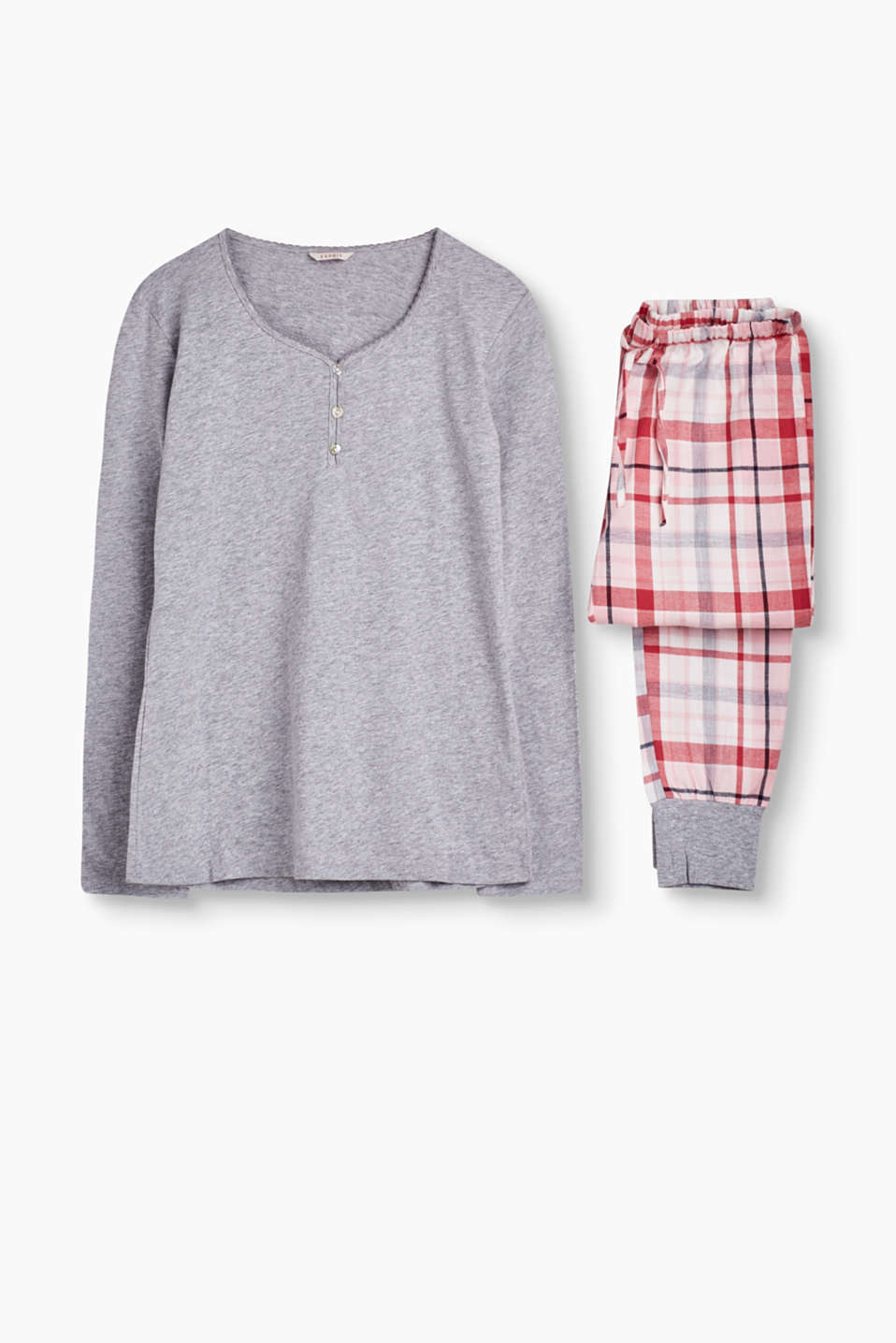 Pyjama set made of jersey and checked flannel decorated with heart-shaped mother-of-pearl buttons