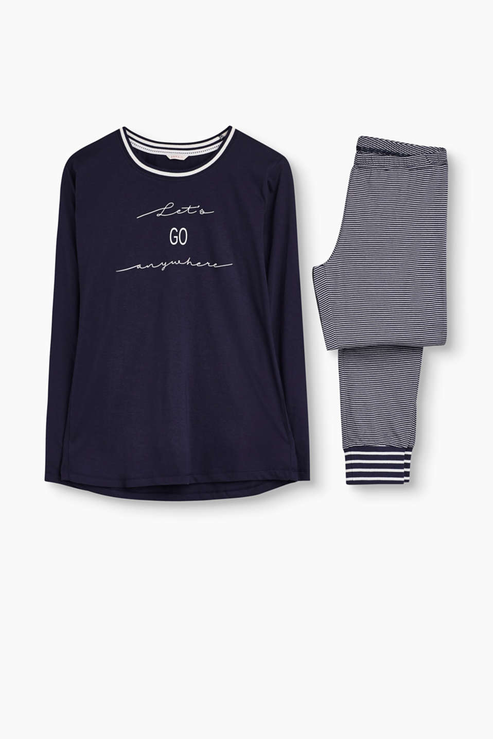 Wonderfully soft and trendy: pyjama set in cotton-jersey with stripes and a slogan print.
