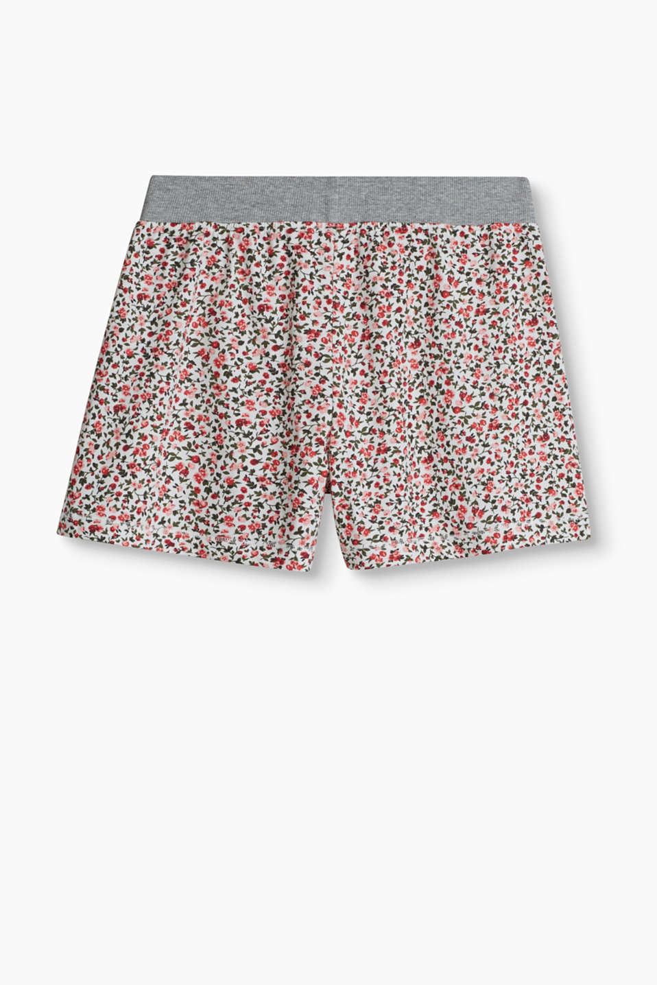 These soft cotton shorts with a pretty floral print are very comfortable and pretty.