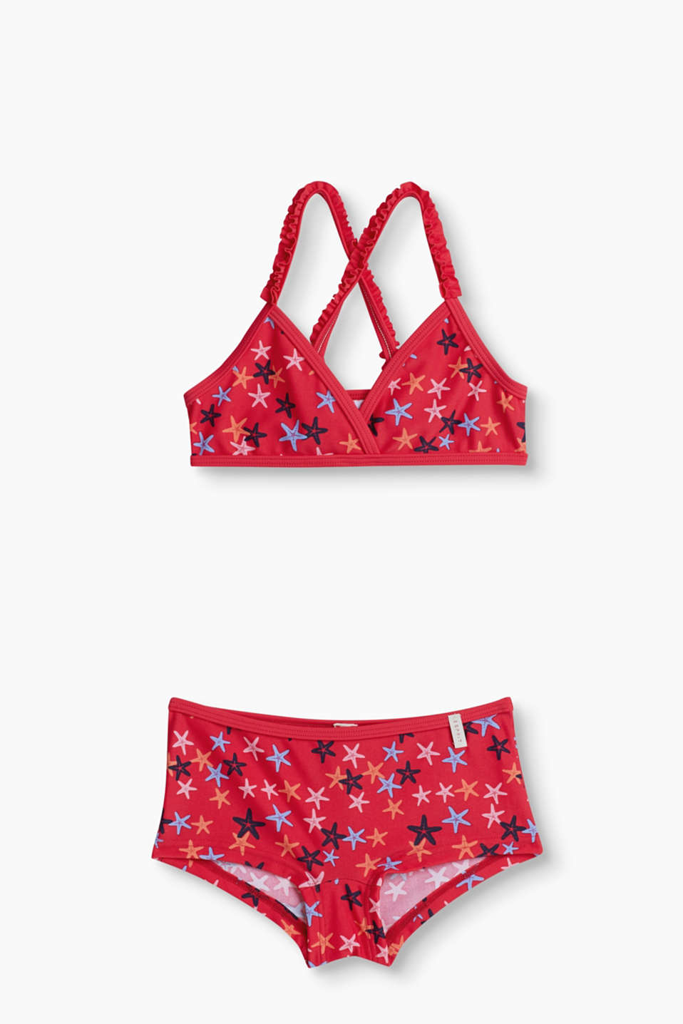 Just the piece for little bathing beauties: Bikini with a pretty starfish print and cute frills.