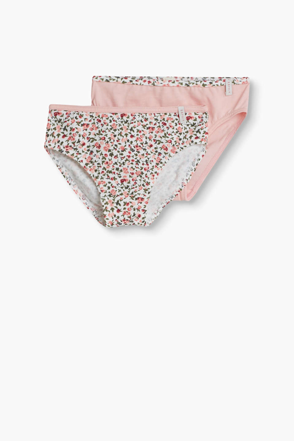 A pretty look, soft and comfortable: briefs in a practical double pack (plain and with a floral print)