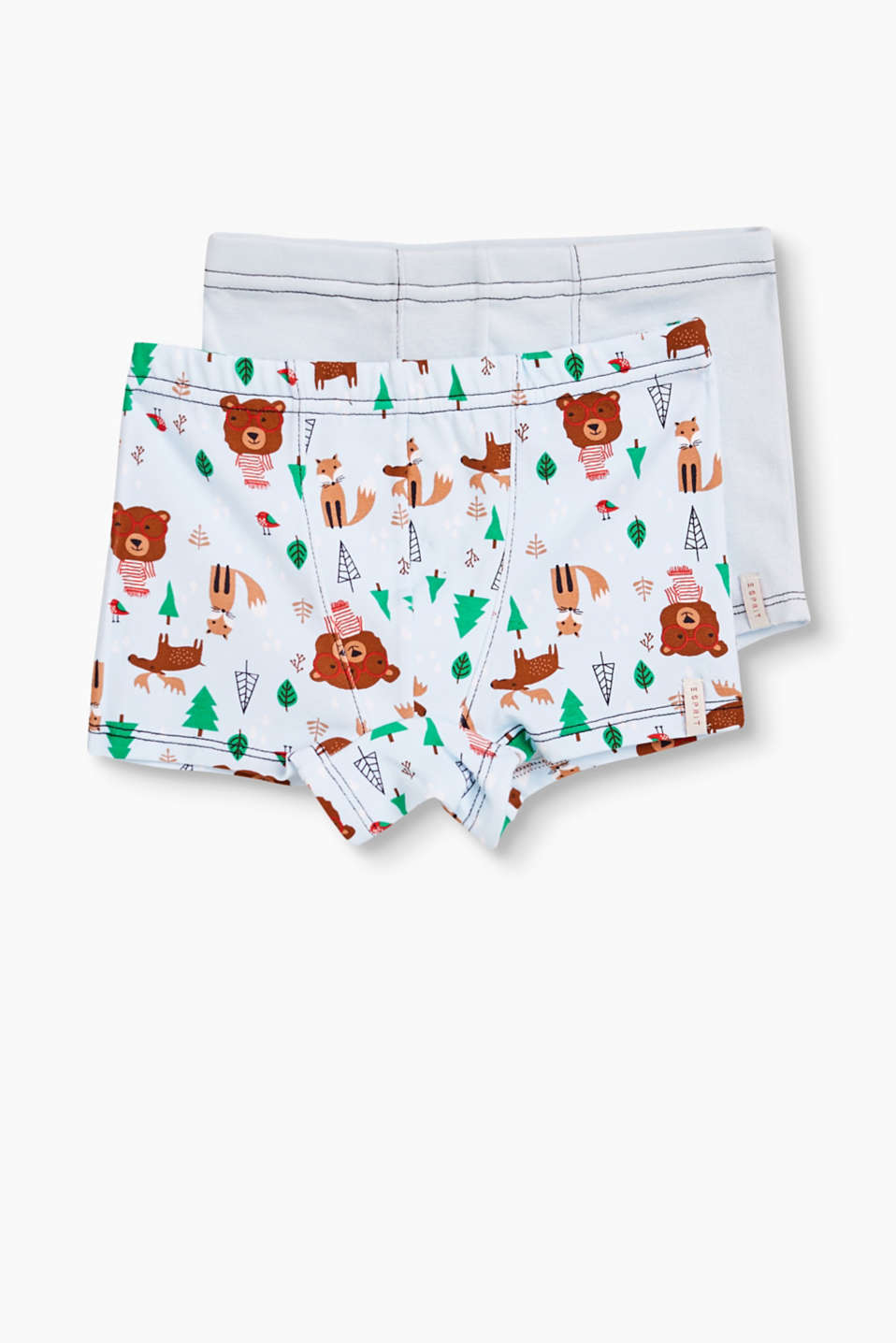 Cotton/stretch cotton boxer shorts in plain or with a little bear print