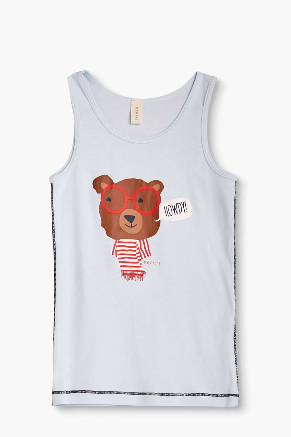 Pure cotton-jersey vest with flatlock stitching and a cute little bear print