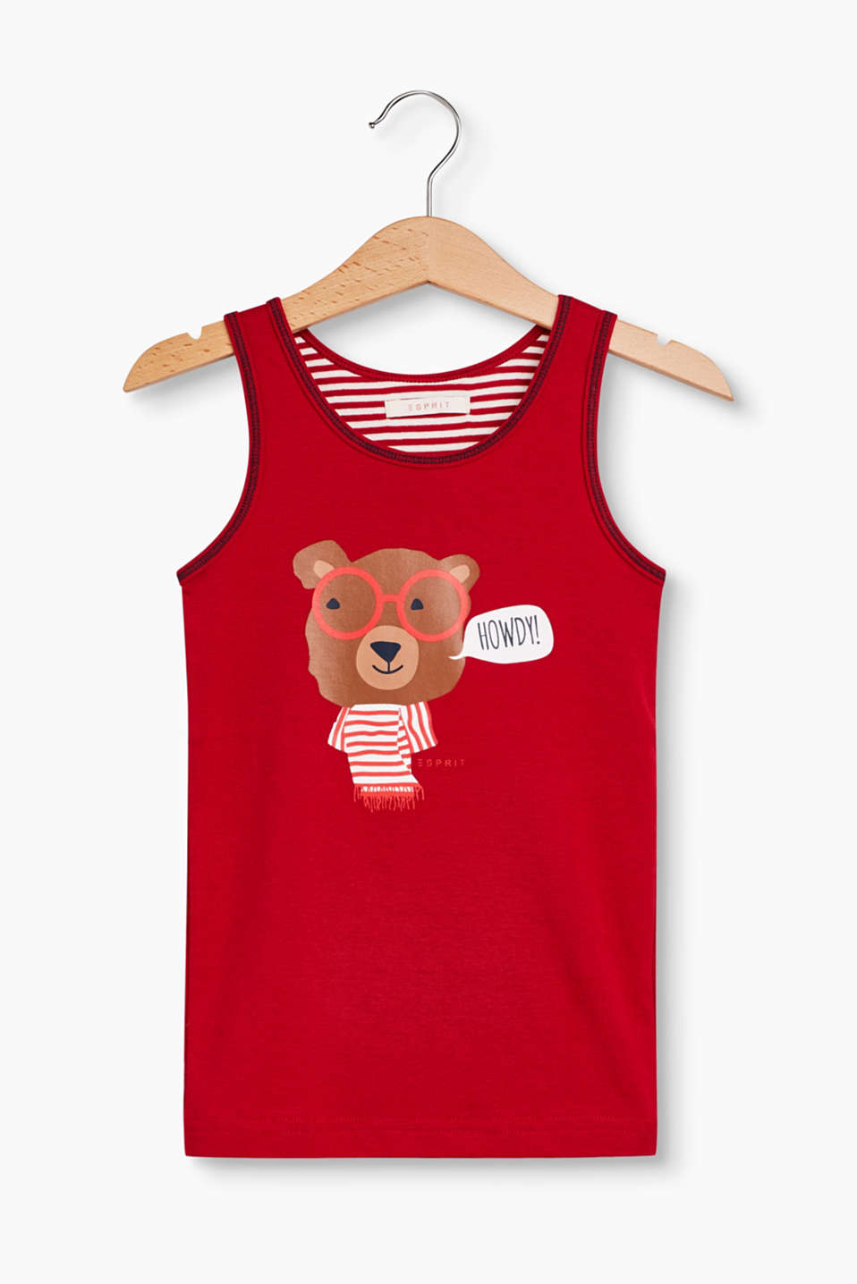 With an adorable little bear print: vest top made of soft cotton-jersey