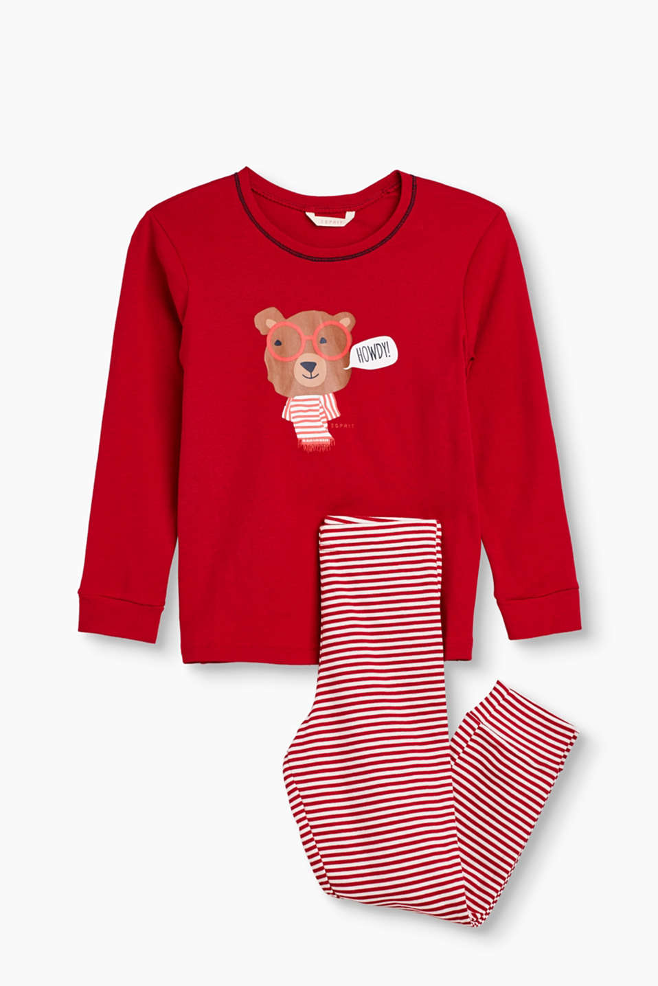 Pyjama set in soft cotton jersey with cheerful stripes and a bear print in a comic style