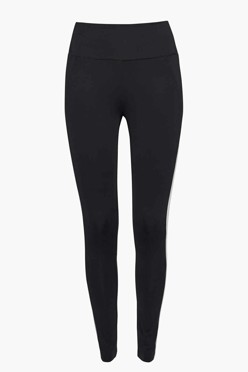 The flattering colour block stripes on these E-DRY active leggings will put a swing in your step!