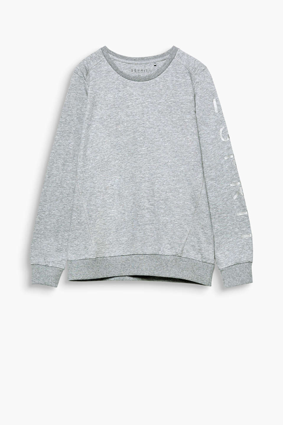 Melange sweatshirt made from soft blended cotton with a tonal glow-in-the-dark logo