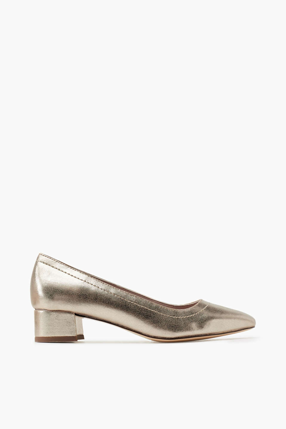 In a trendy, metallic look: faux leather court shoes in a square design with a block heel
